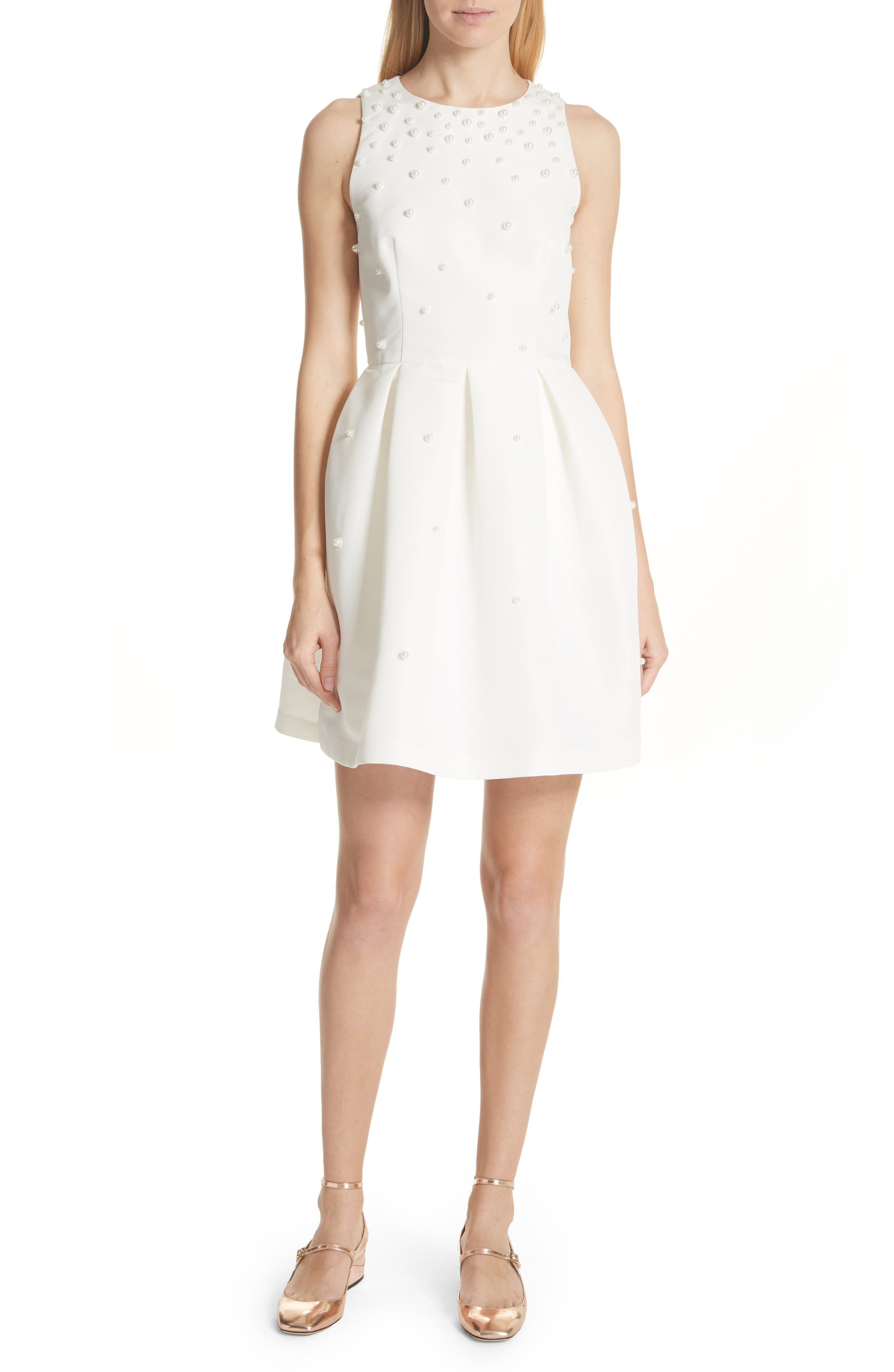bff6320026068 ... Ivory cheap prices  Ted Baker Triski A-Line Skater Dress With Scalloped  Panel - White new arrive 3b7c1 ...