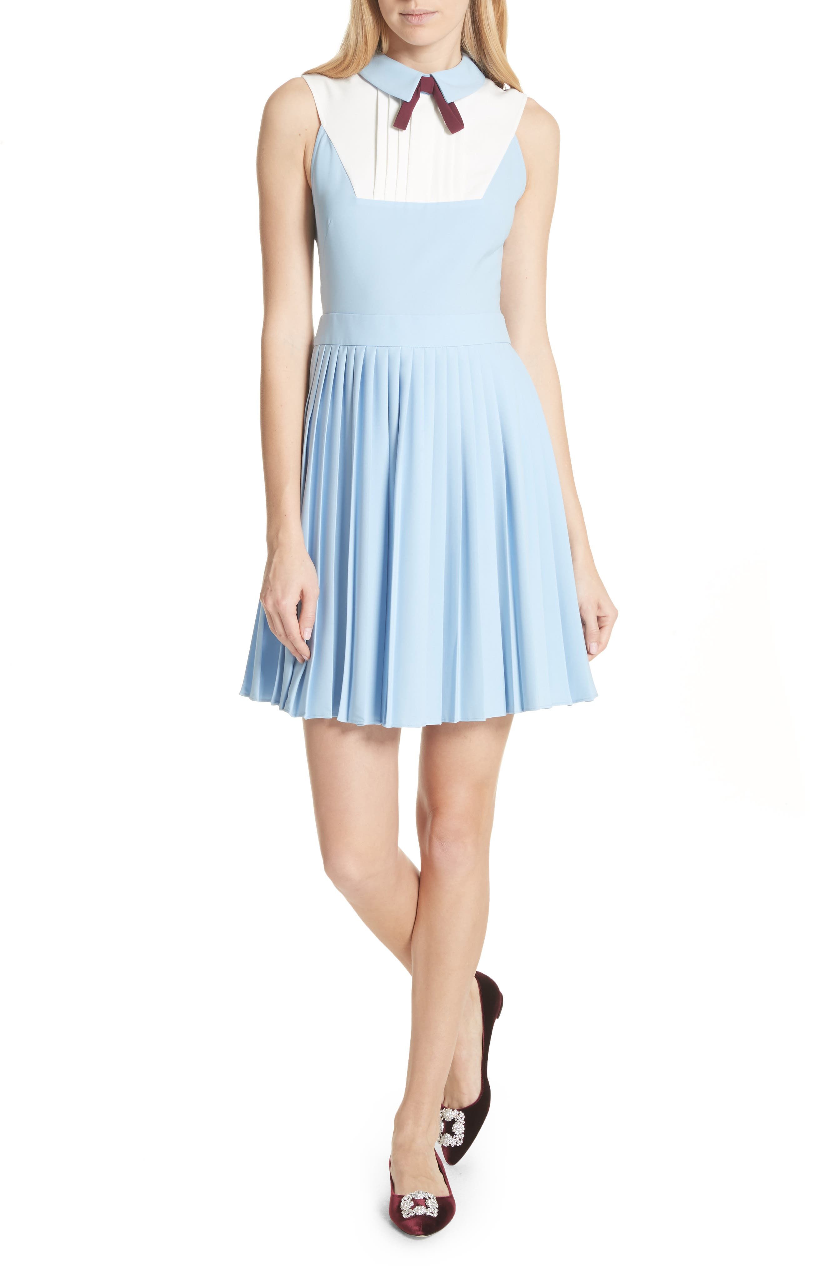 Pleated Fit & Flare Dress,                         Main,                         color, Baby Blue