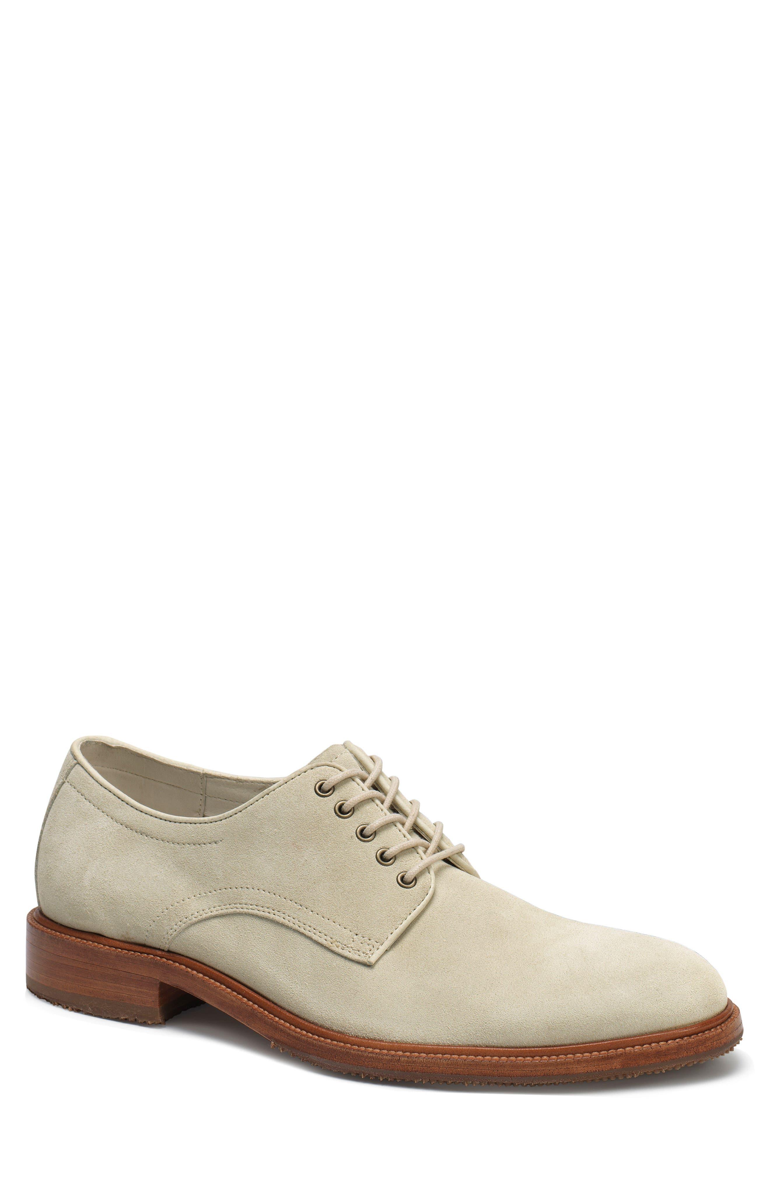 Landry Plain Toe Derby,                         Main,                         color, Stone White Suede