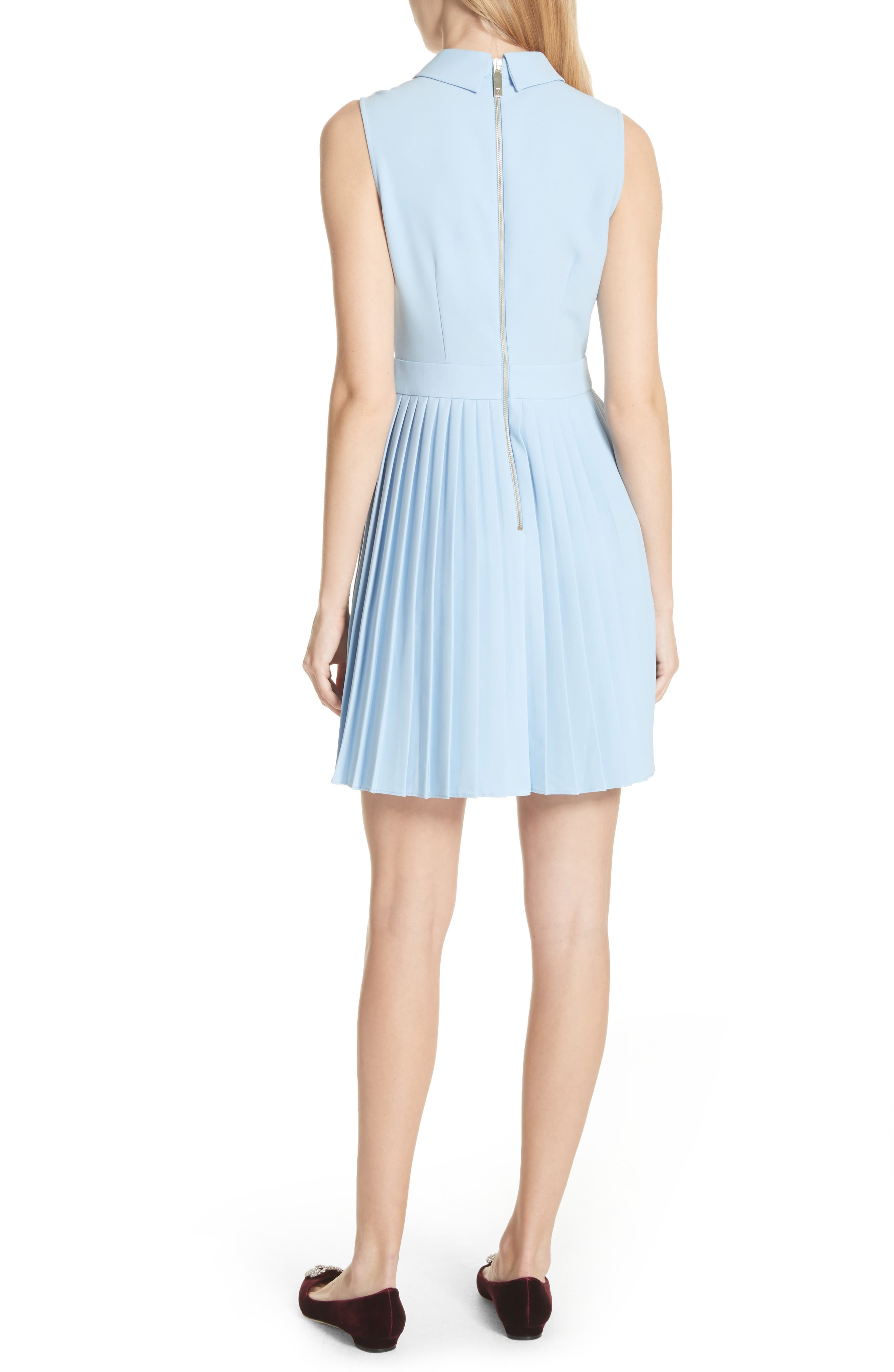 Pleated Fit & Flare Dress,                             Alternate thumbnail 2, color,                             Baby Blue