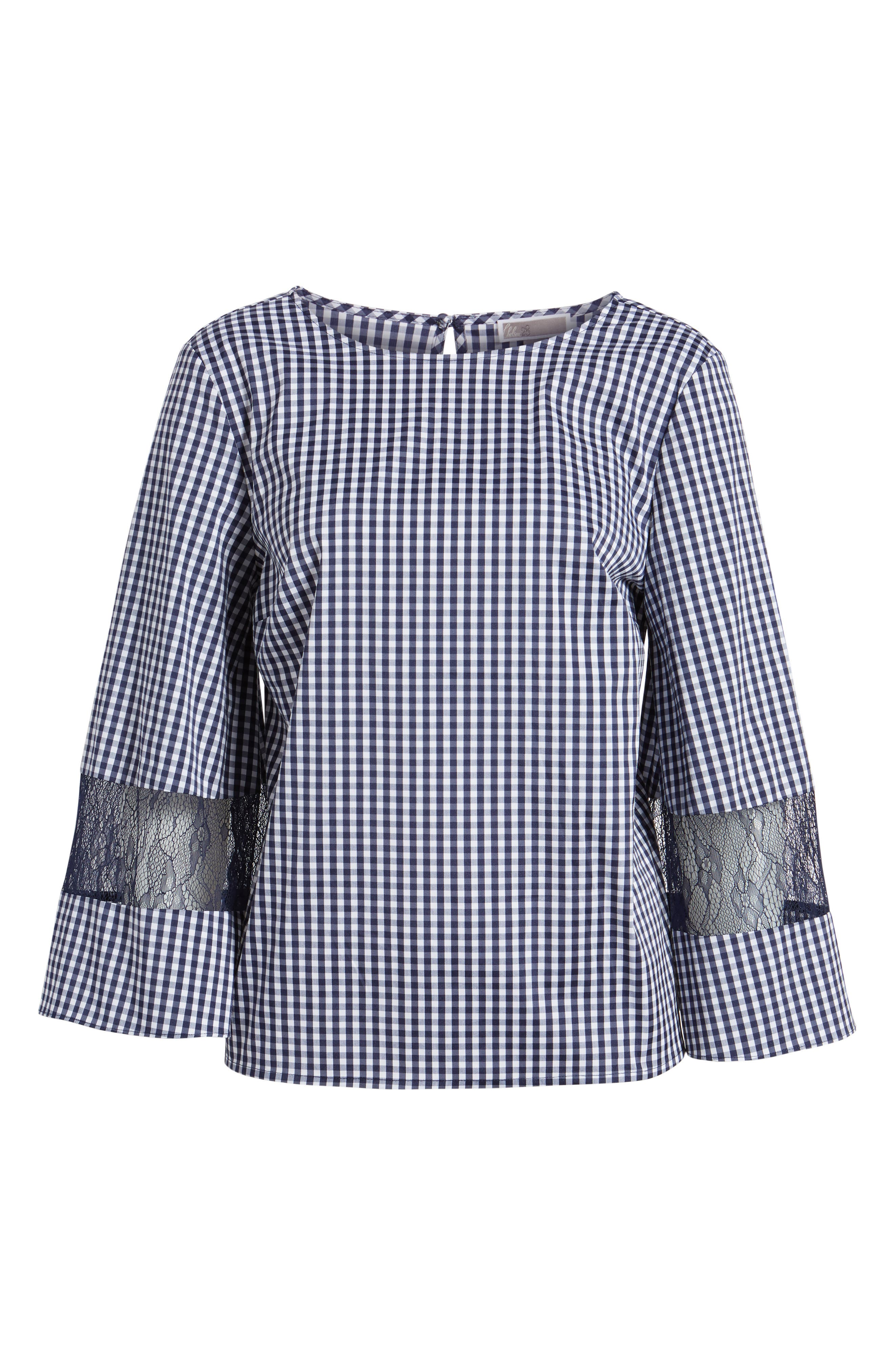 Gingham & Lace Blouse,                             Alternate thumbnail 6, color,                             Navy Evening- White Gingham
