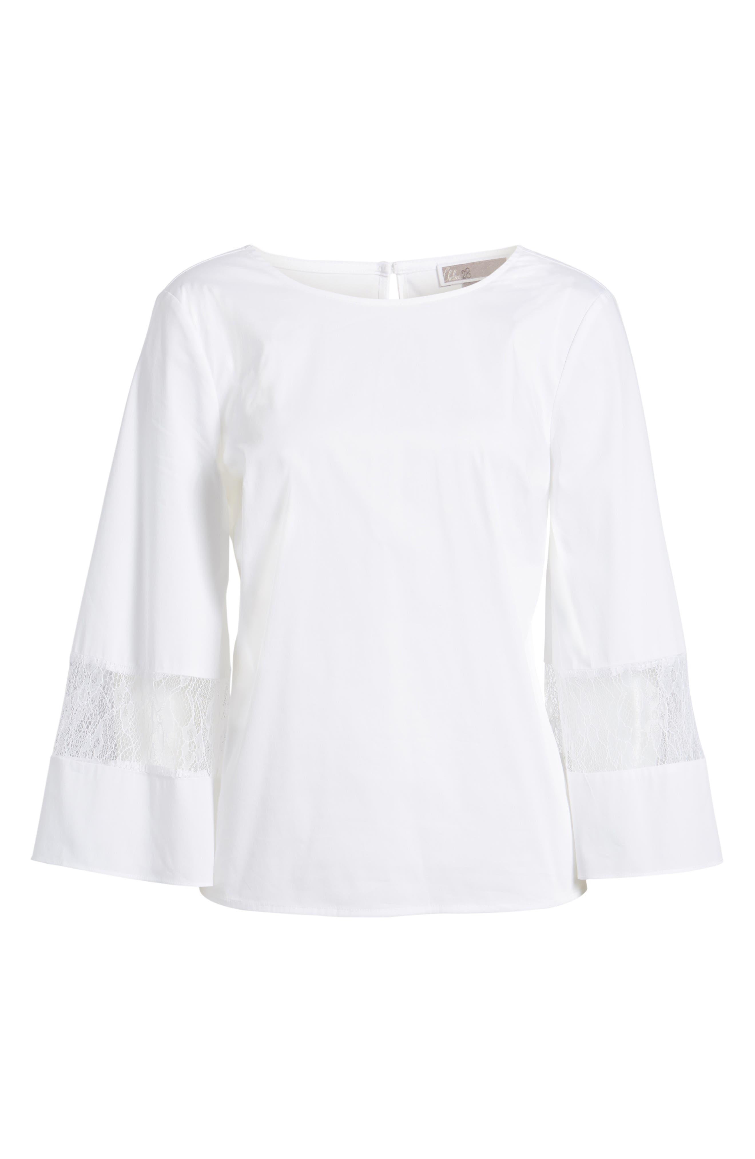 Lace & Poplin Blouse,                             Alternate thumbnail 6, color,                             White