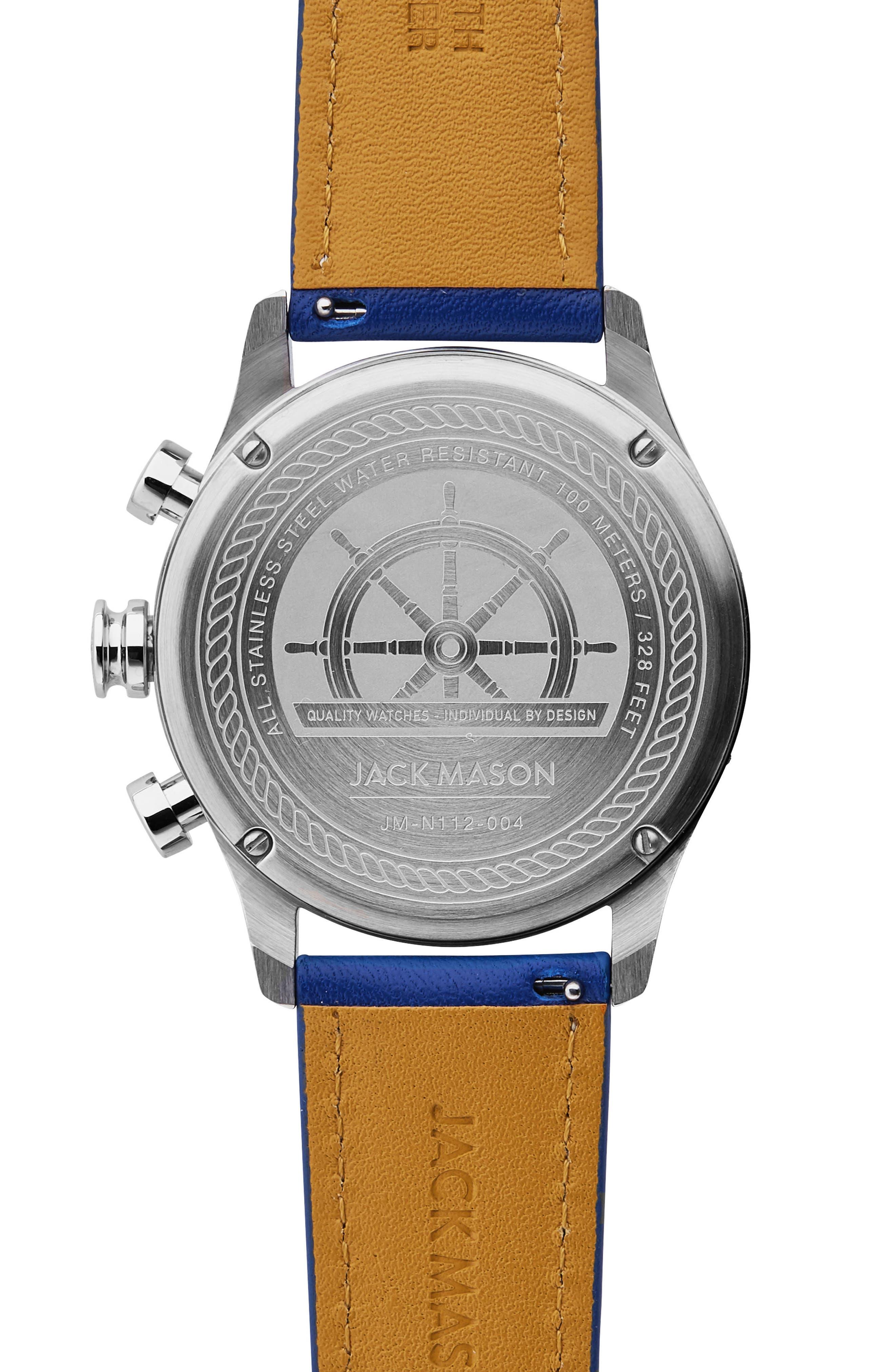 Nautical Chronograph Leather Strap Watch, 42mm,                             Alternate thumbnail 2, color,                             White/ Cobalt Blue