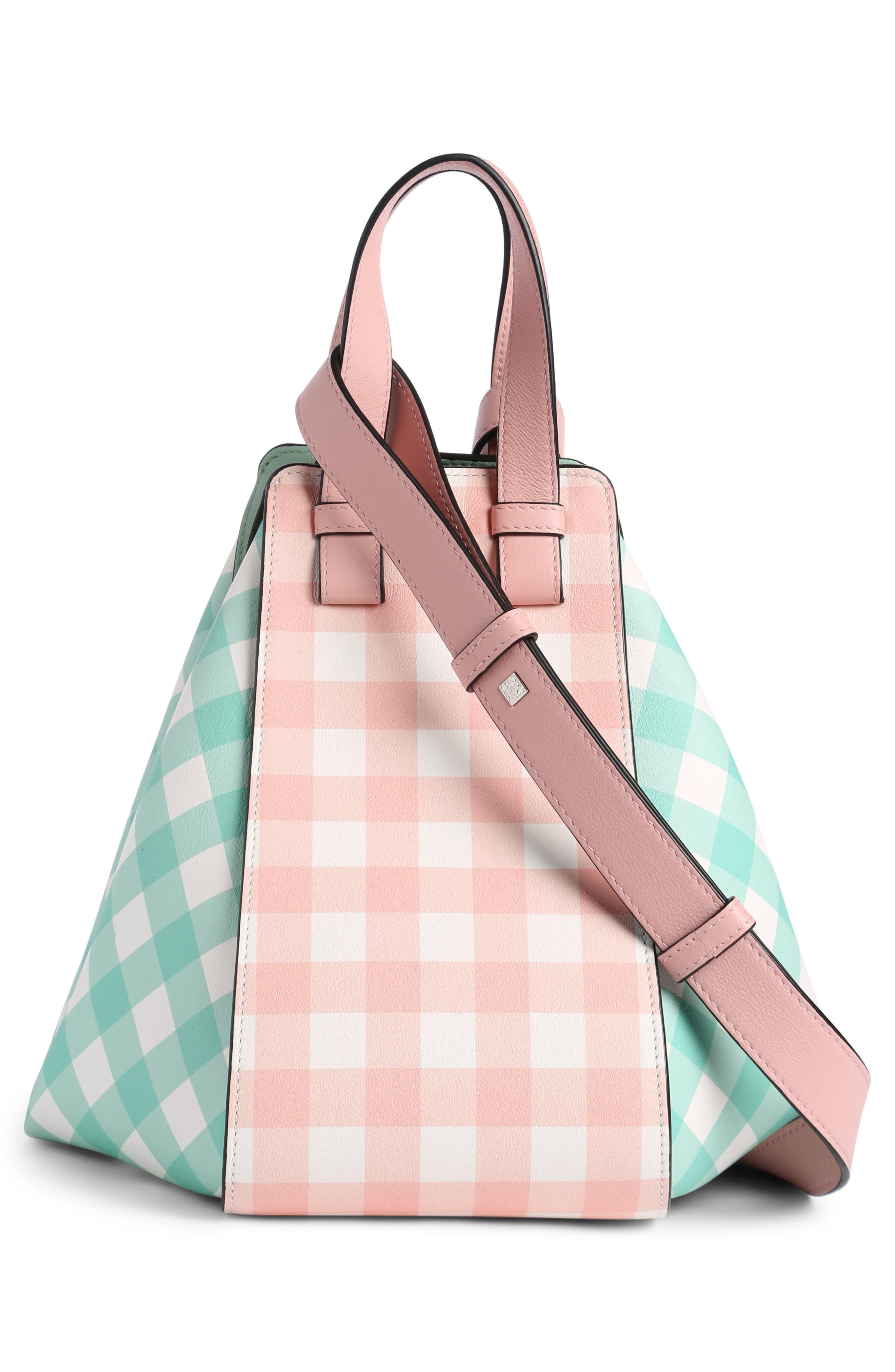 Small Hammock Gingham Leather Shoulder Bag,                             Alternate thumbnail 3, color,                             Salmon/ Seawater Green