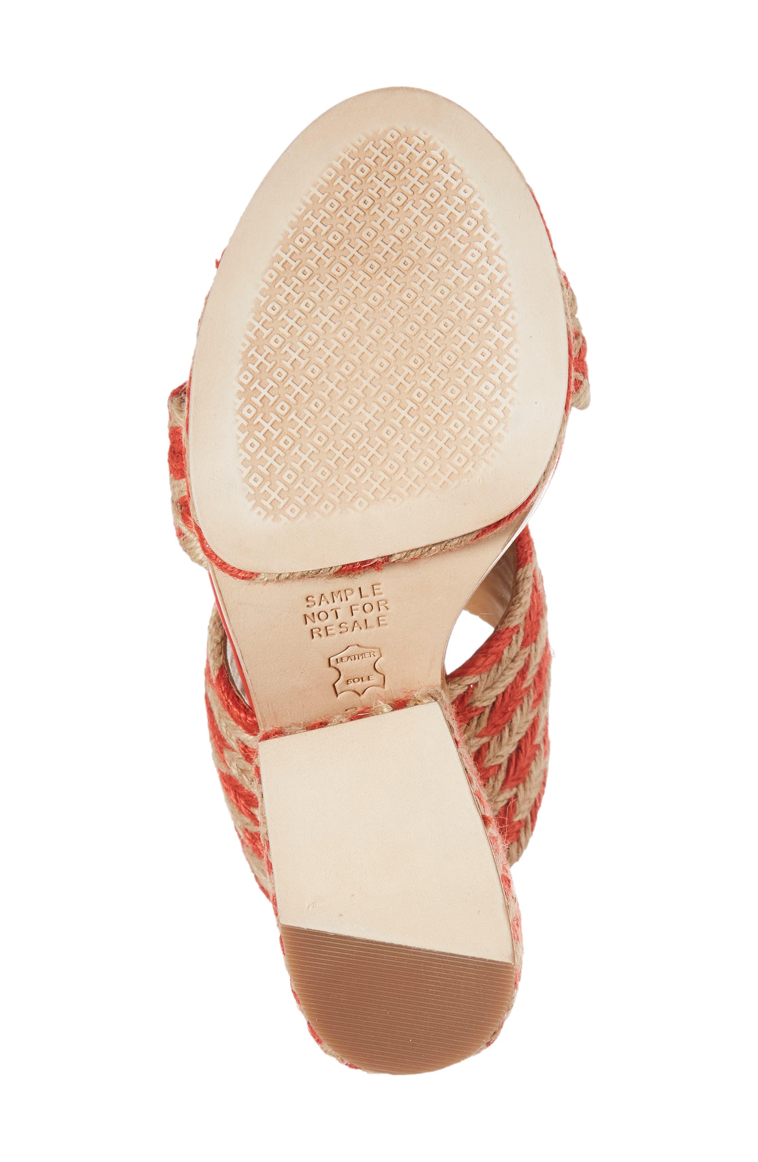 Lola Woven Platform Sandal,                             Alternate thumbnail 6, color,                             Poppy Orange/ Perfect Ivory
