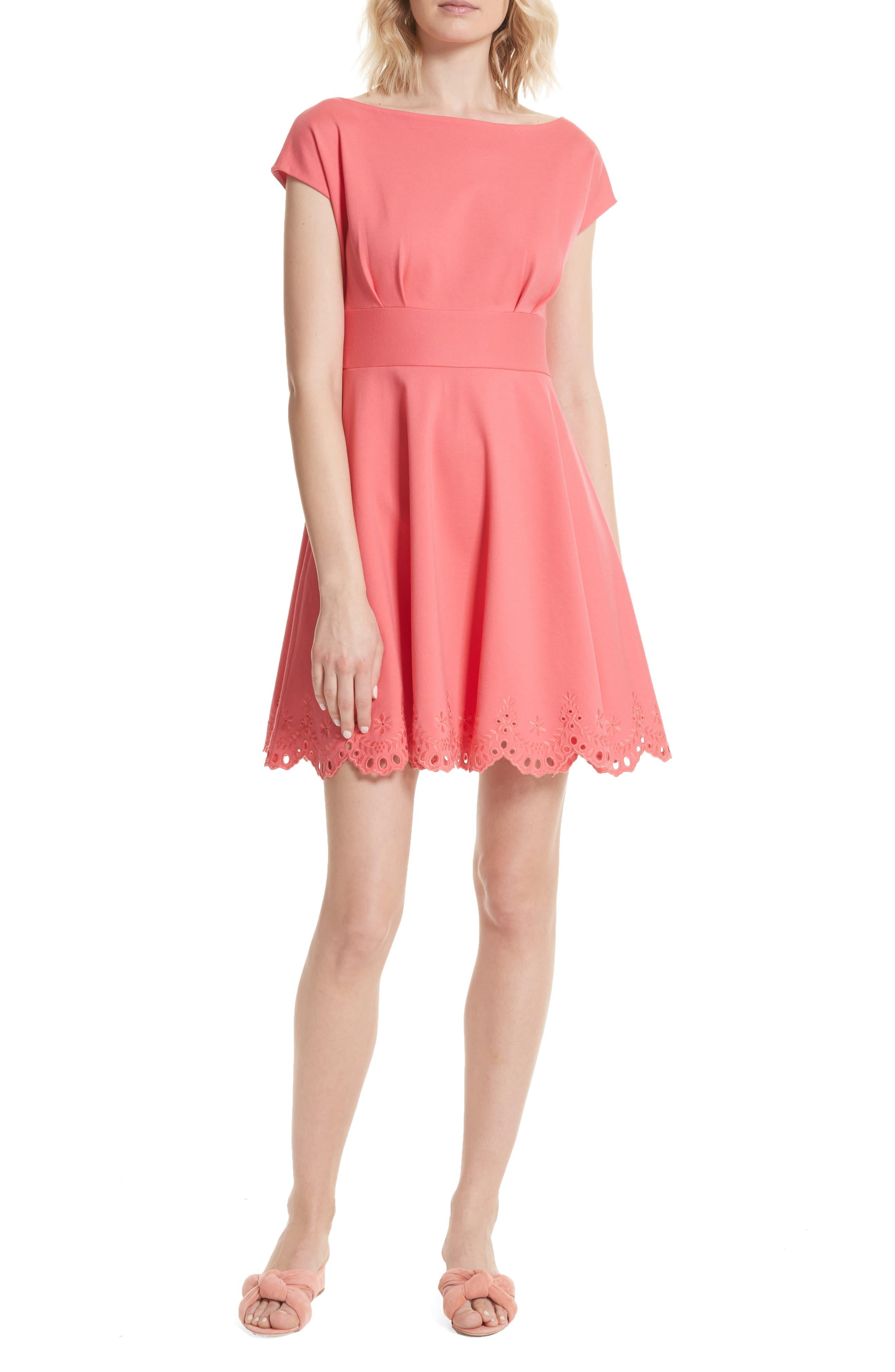 fiorella cutwork hem dress,                             Main thumbnail 1, color,                             Peach Sherbet