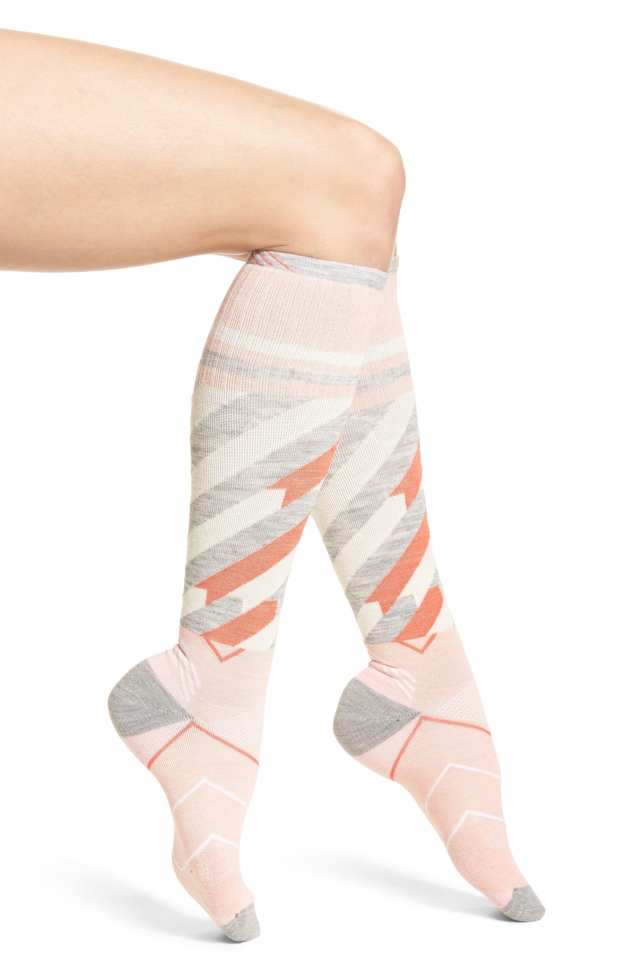 Cyclone Compression Knee Socks,                             Main thumbnail 1, color,                             Rose