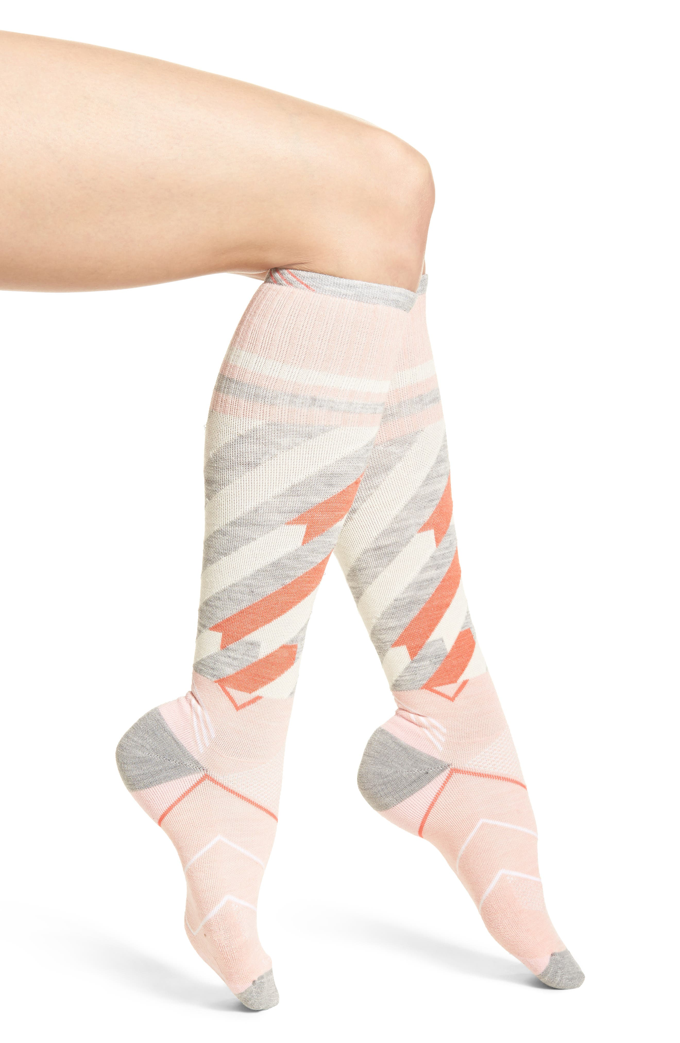 Cyclone Compression Knee Socks,                         Main,                         color, Rose