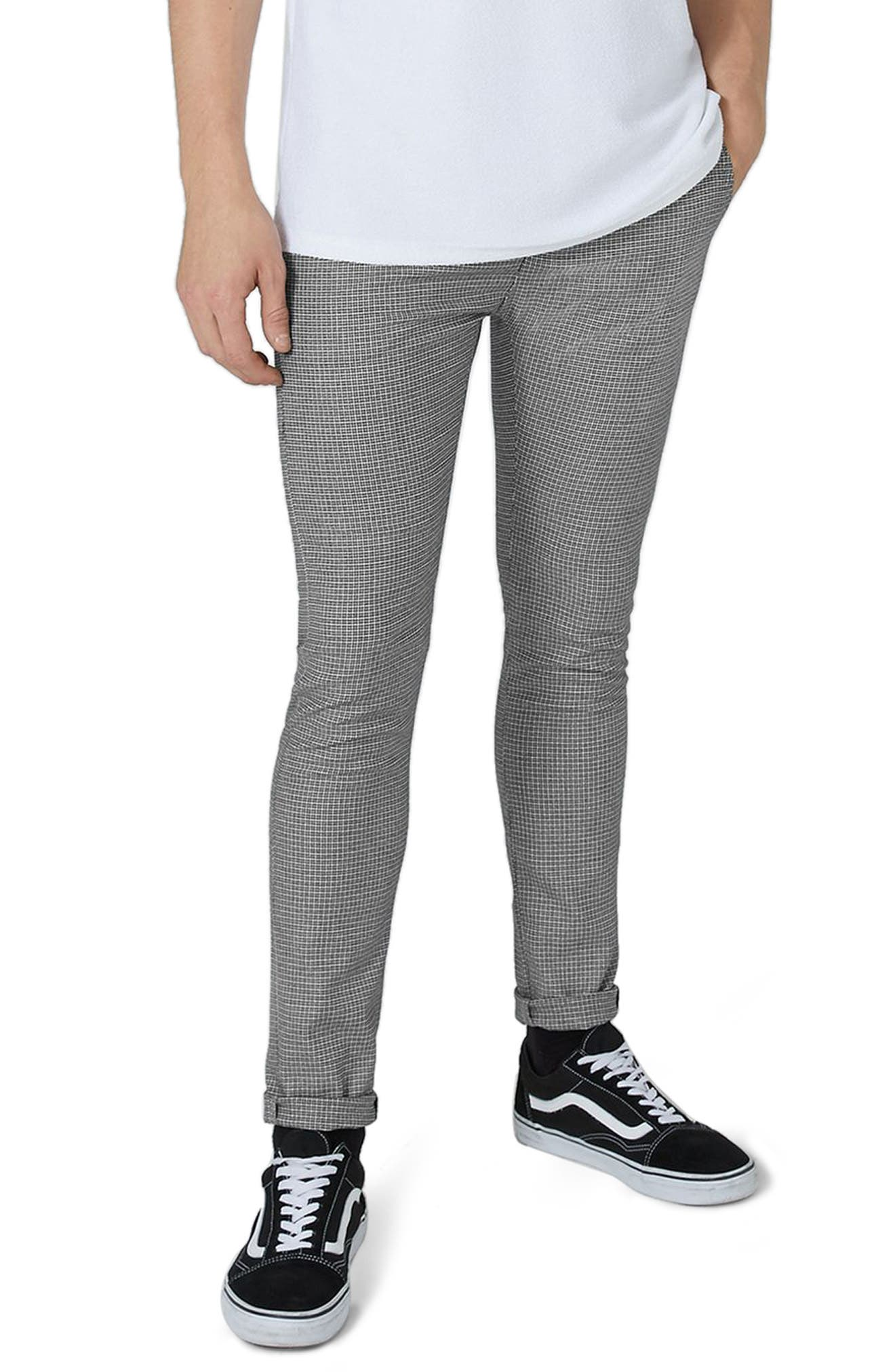 Topman Mini Houndstooth Stretch Skinny Fit Trousers