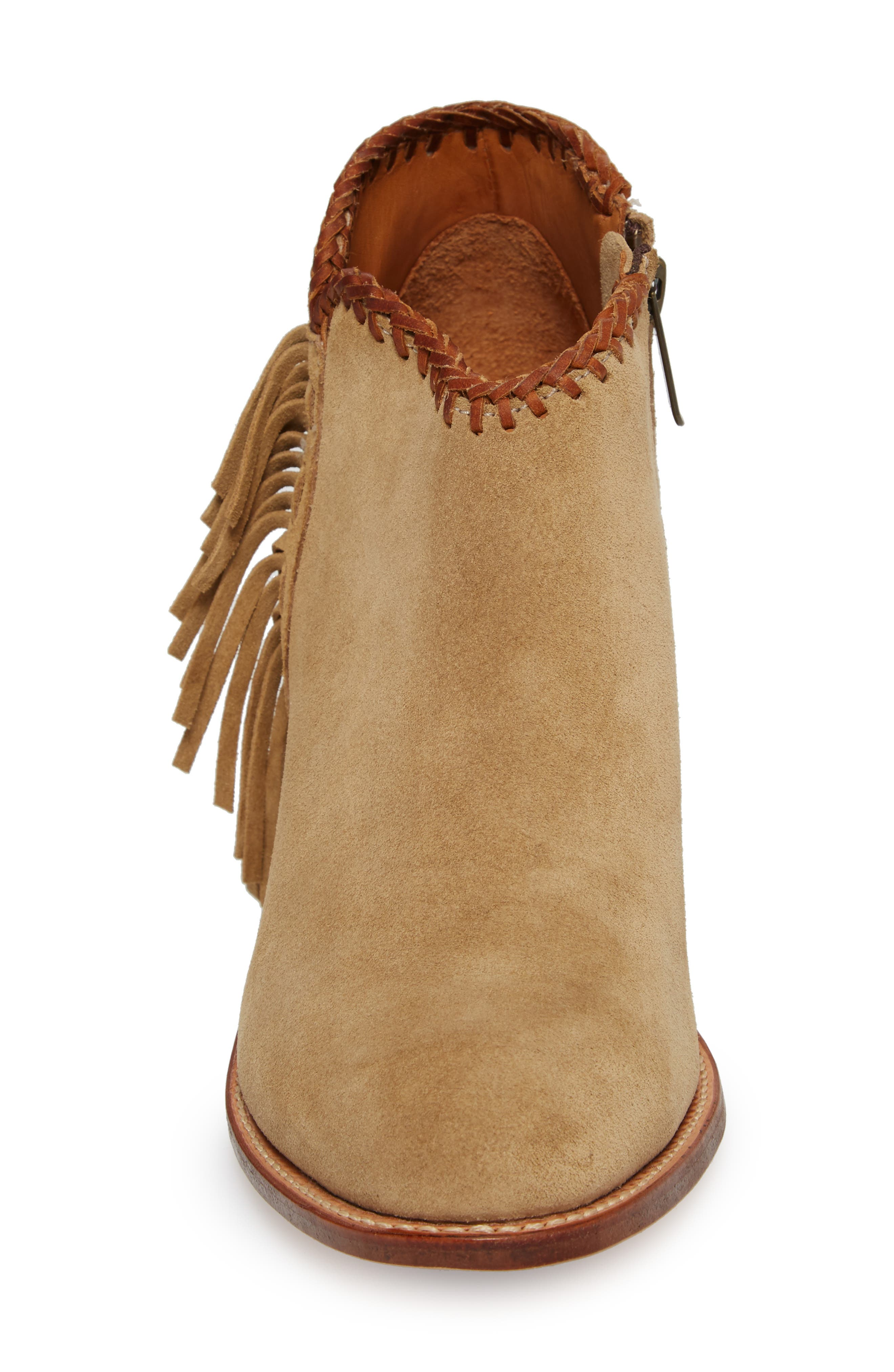 Sonya Fringed Bootie,                             Alternate thumbnail 4, color,                             Taupe Suede