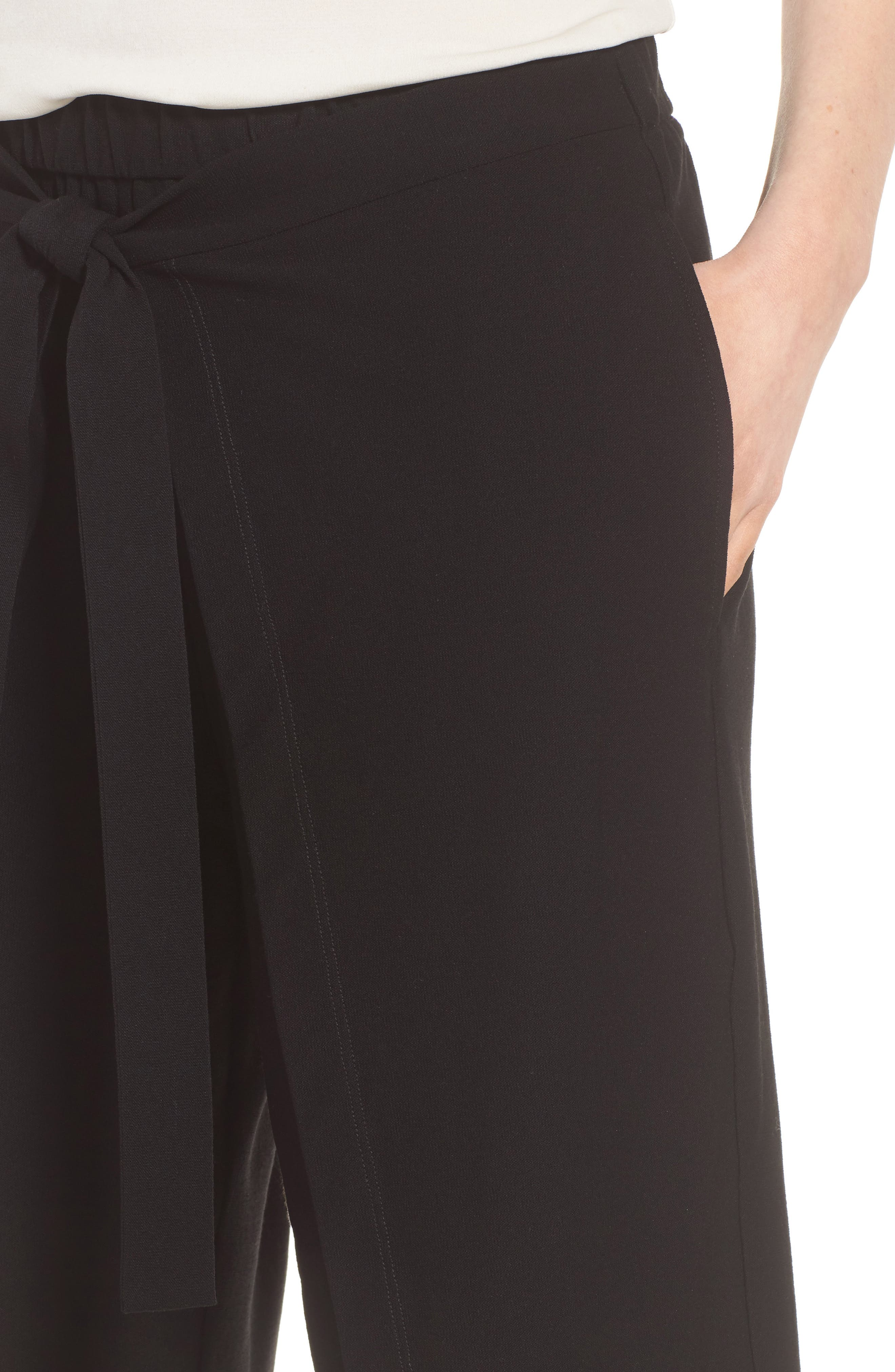 Washable Stretch Crepe Tie-Front Crop Wide Leg Pants,                             Alternate thumbnail 4, color,                             Black