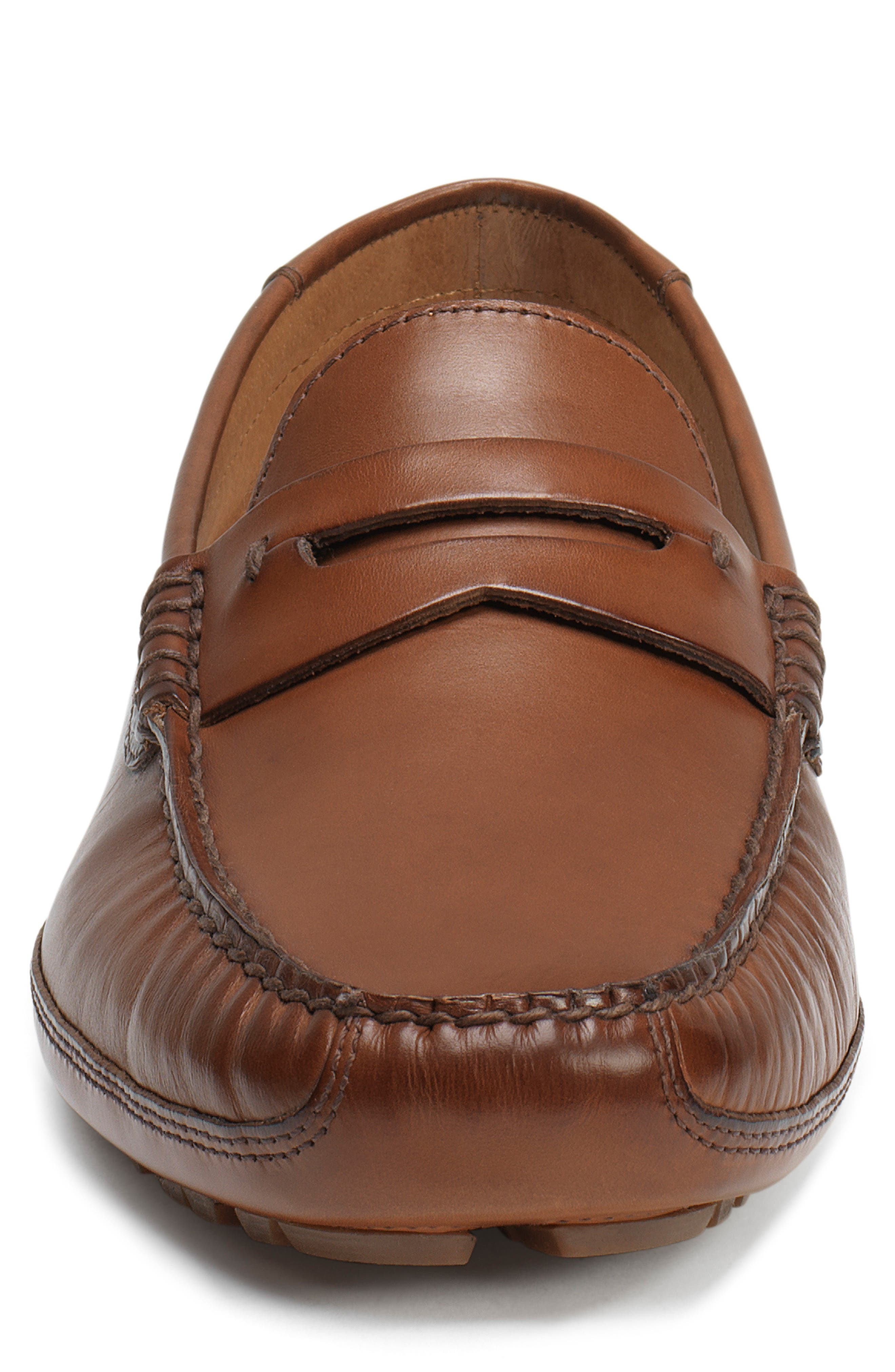 Dawson Water Resistant Driving Loafer,                             Alternate thumbnail 4, color,                             Light Brown Leather