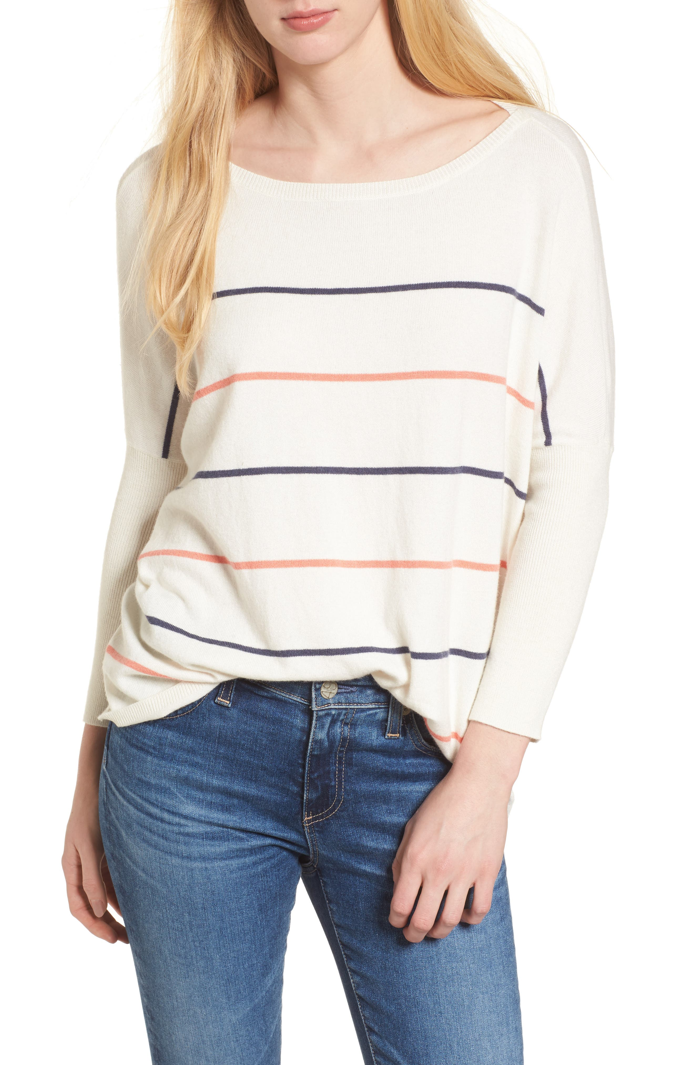 Cascada Stripe Sweater,                             Main thumbnail 1, color,                             Ivory
