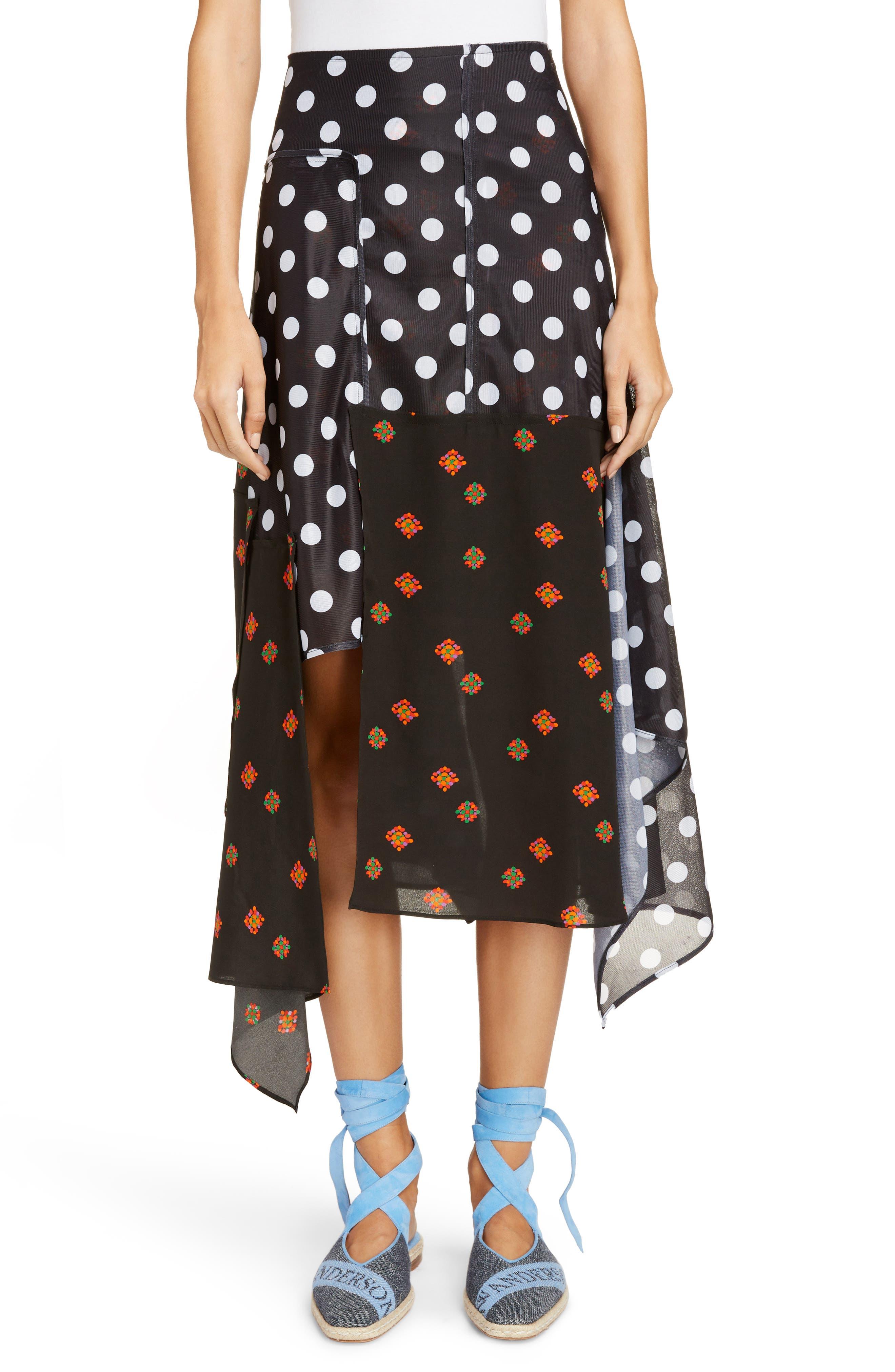 Polka Dot & Floral Panel Skirt,                         Main,                         color, Black