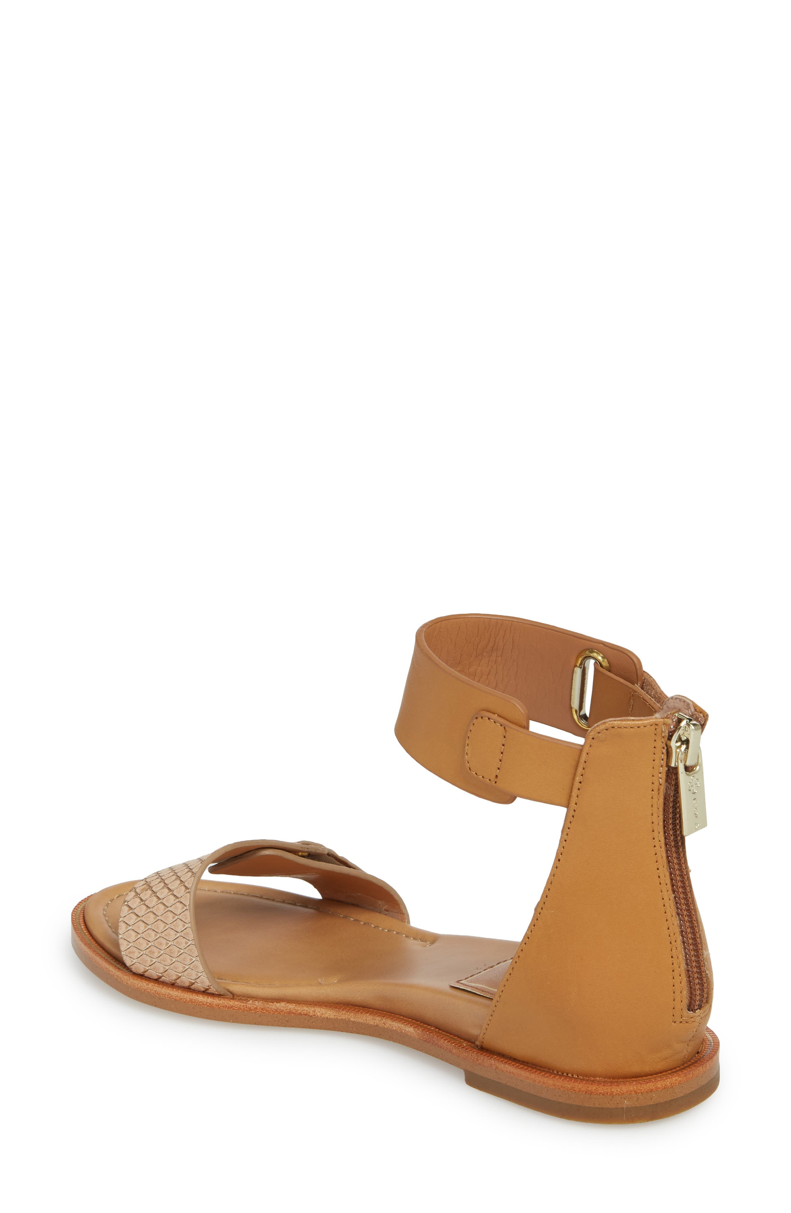 Savina Ankle Strap Sandal,                             Alternate thumbnail 2, color,                             Gold/ Desert Sand Leather