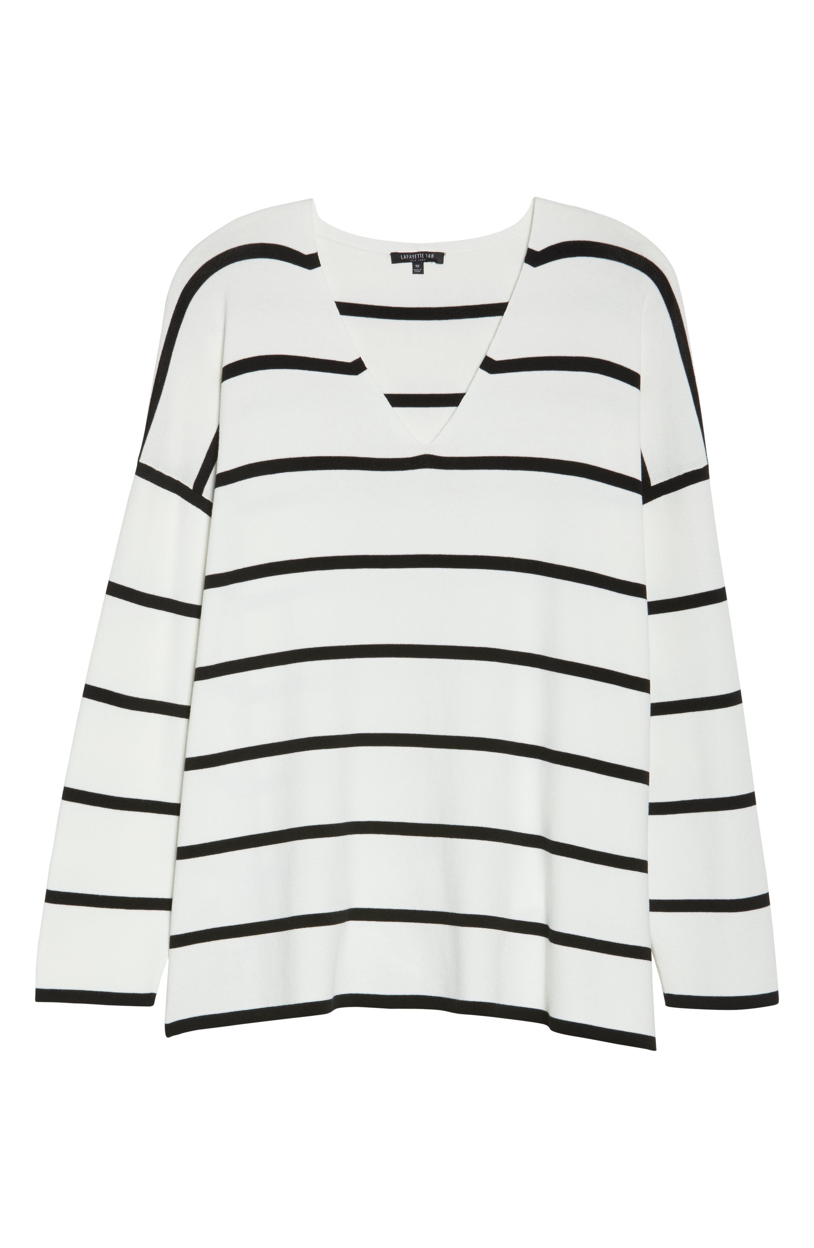 Alternate Image 6  - Lafayette 148 New York Stripe Sweater (Plus Size)