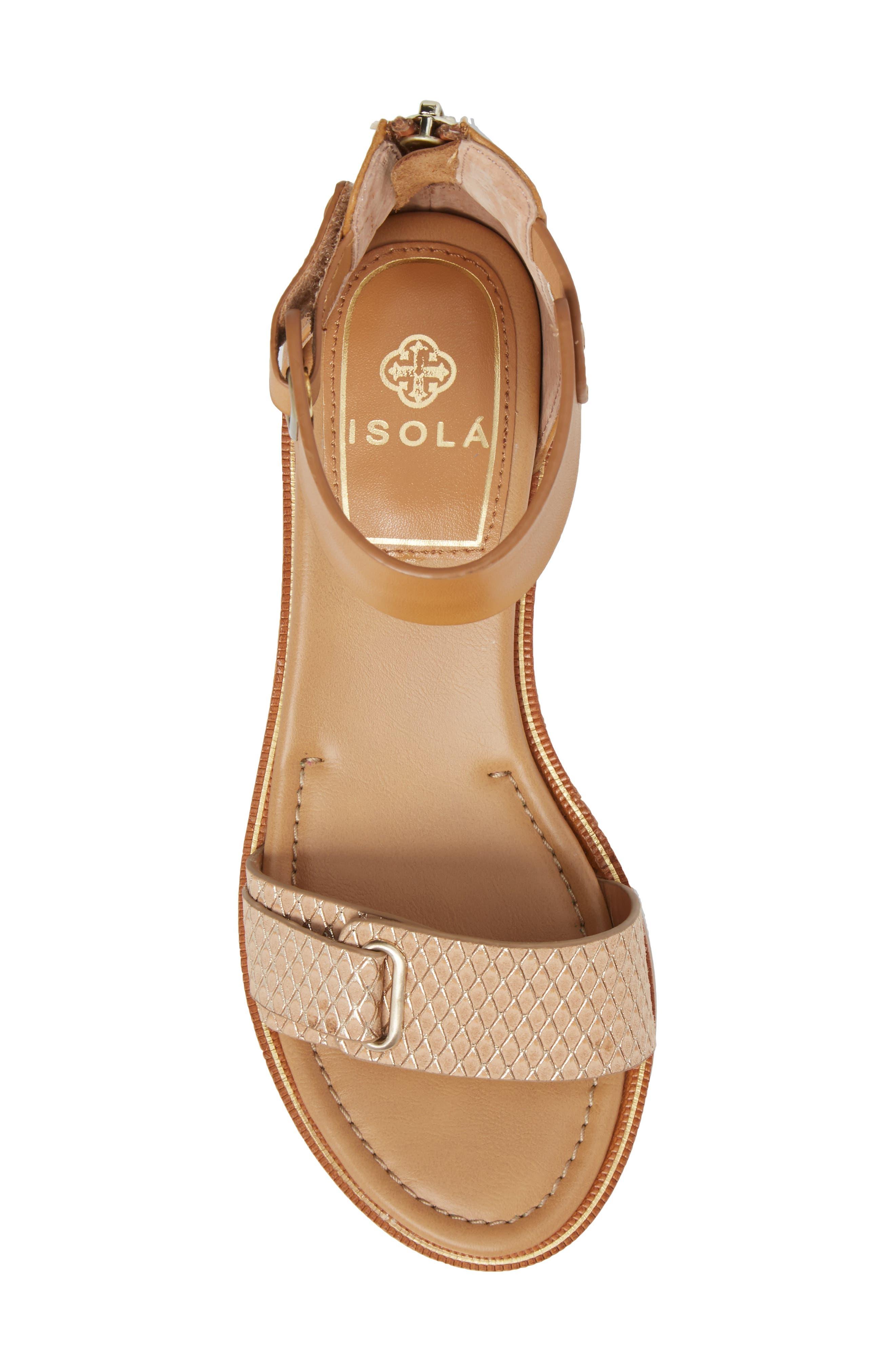 Savina Ankle Strap Sandal,                             Alternate thumbnail 5, color,                             Gold/ Desert Sand Leather