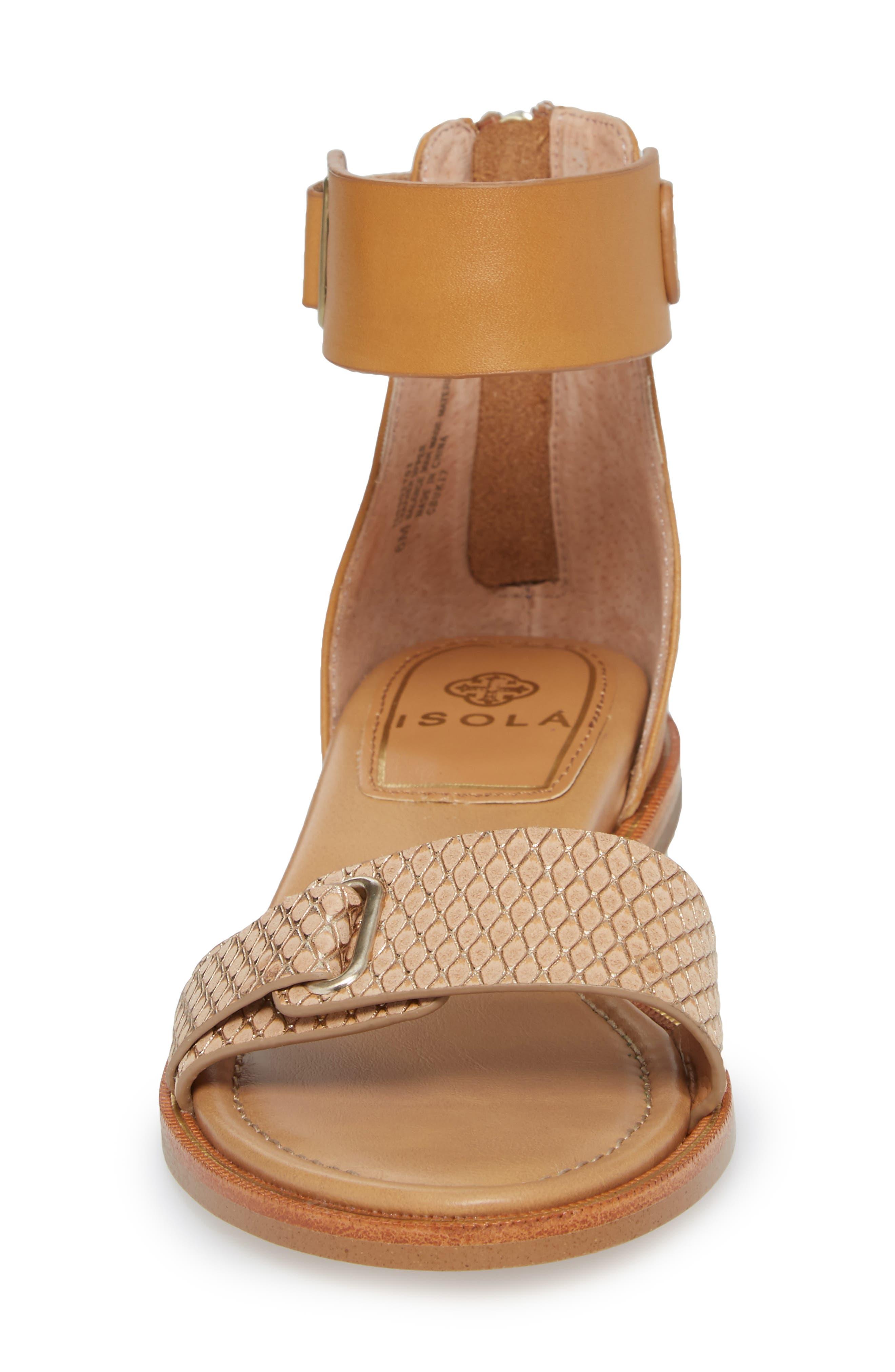 Savina Ankle Strap Sandal,                             Alternate thumbnail 4, color,                             Gold/ Desert Sand Leather