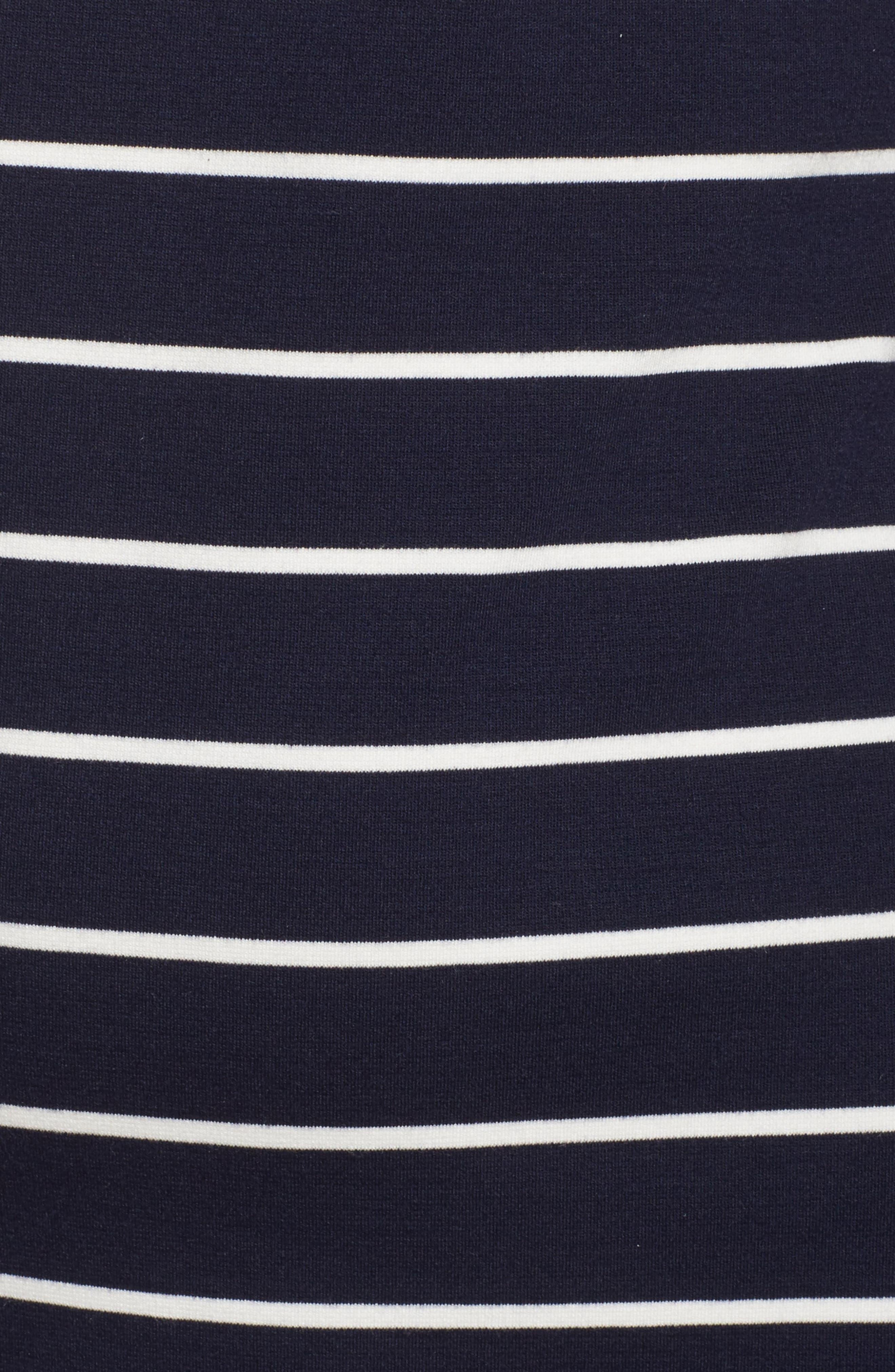 Stripe Flower Detail Shift Dress,                             Alternate thumbnail 5, color,                             Navy