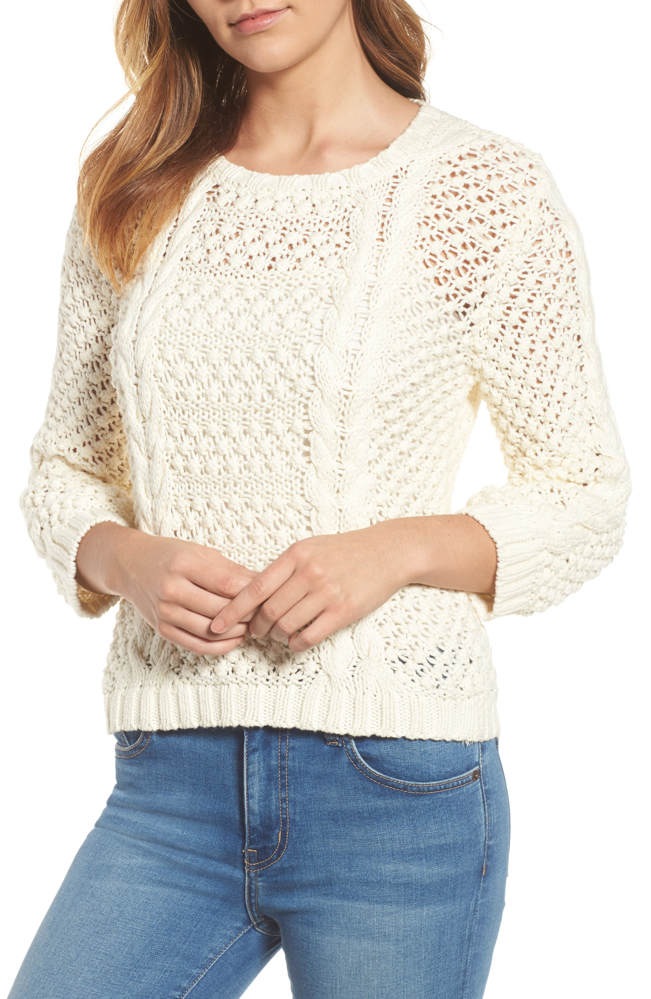 Popcorn Cable Sweater,                             Main thumbnail 1, color,                             Milk White