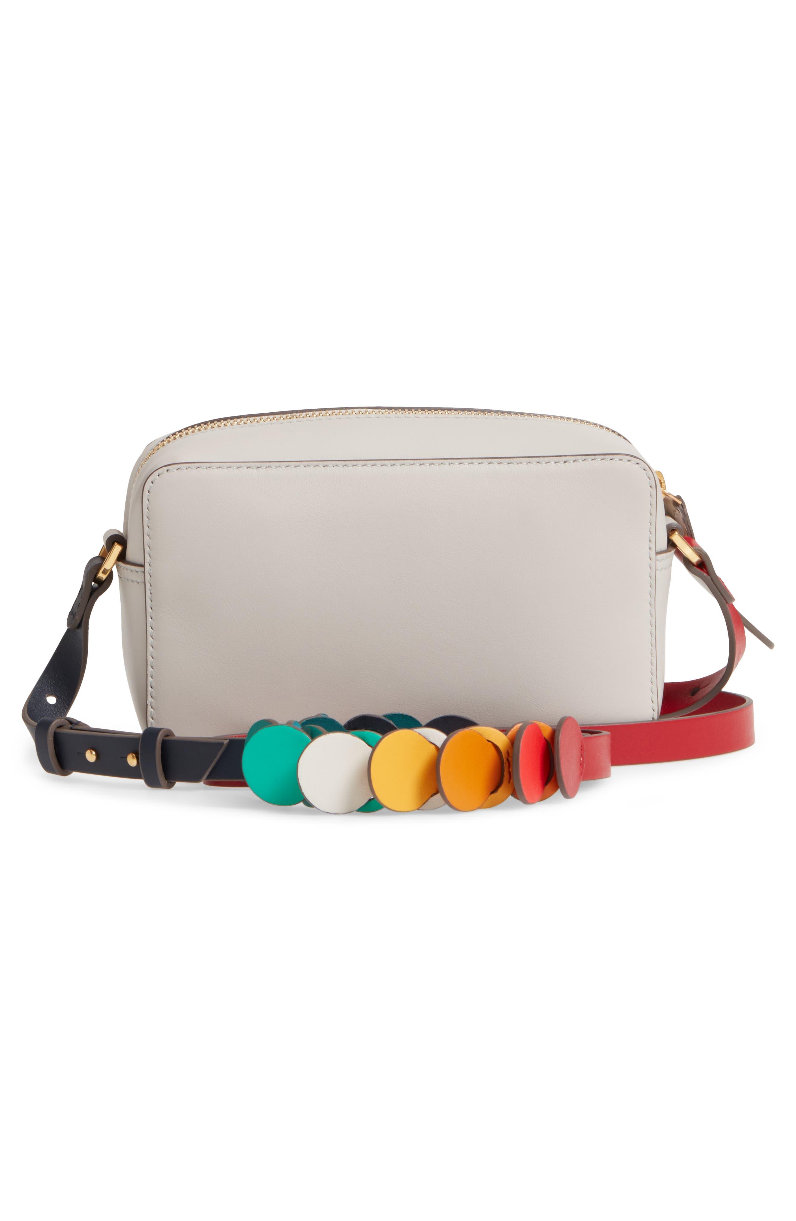 Mini Circles Leather Crossbody Bag,                             Alternate thumbnail 3, color,                             Steam