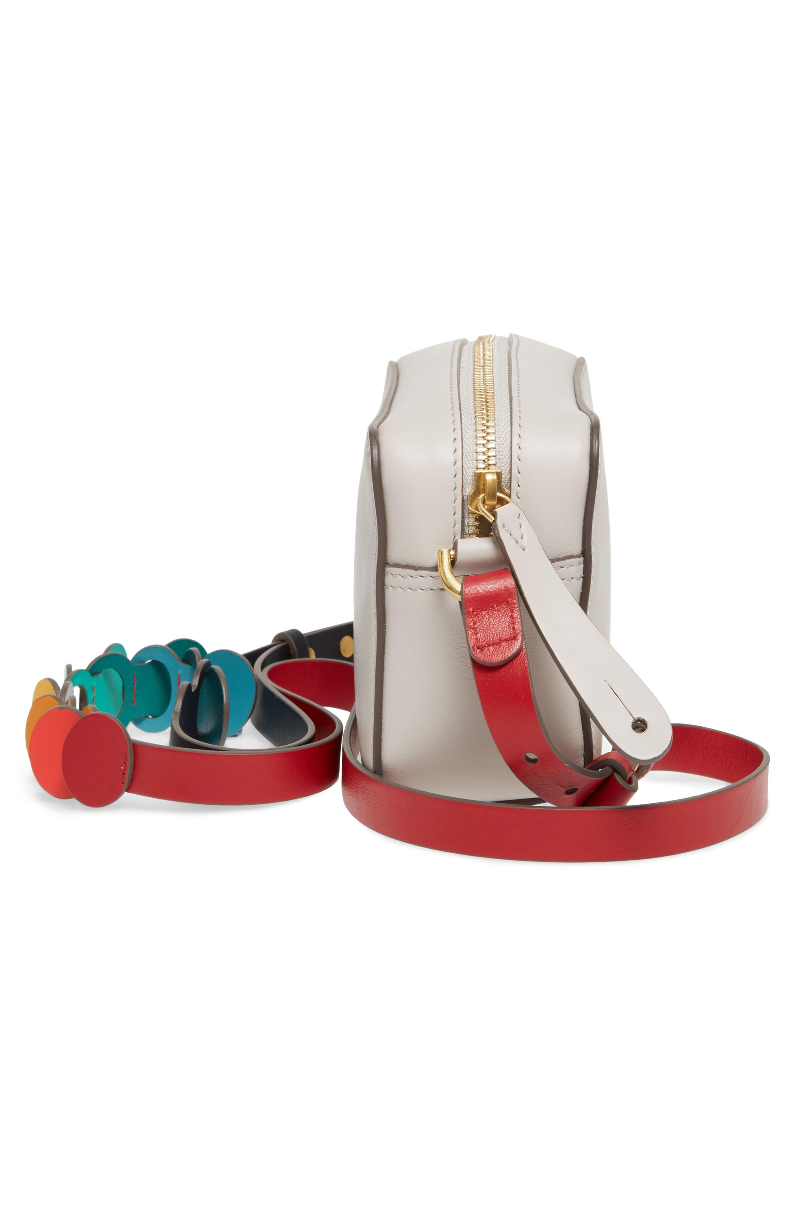 Mini Circles Leather Crossbody Bag,                             Alternate thumbnail 5, color,                             Steam