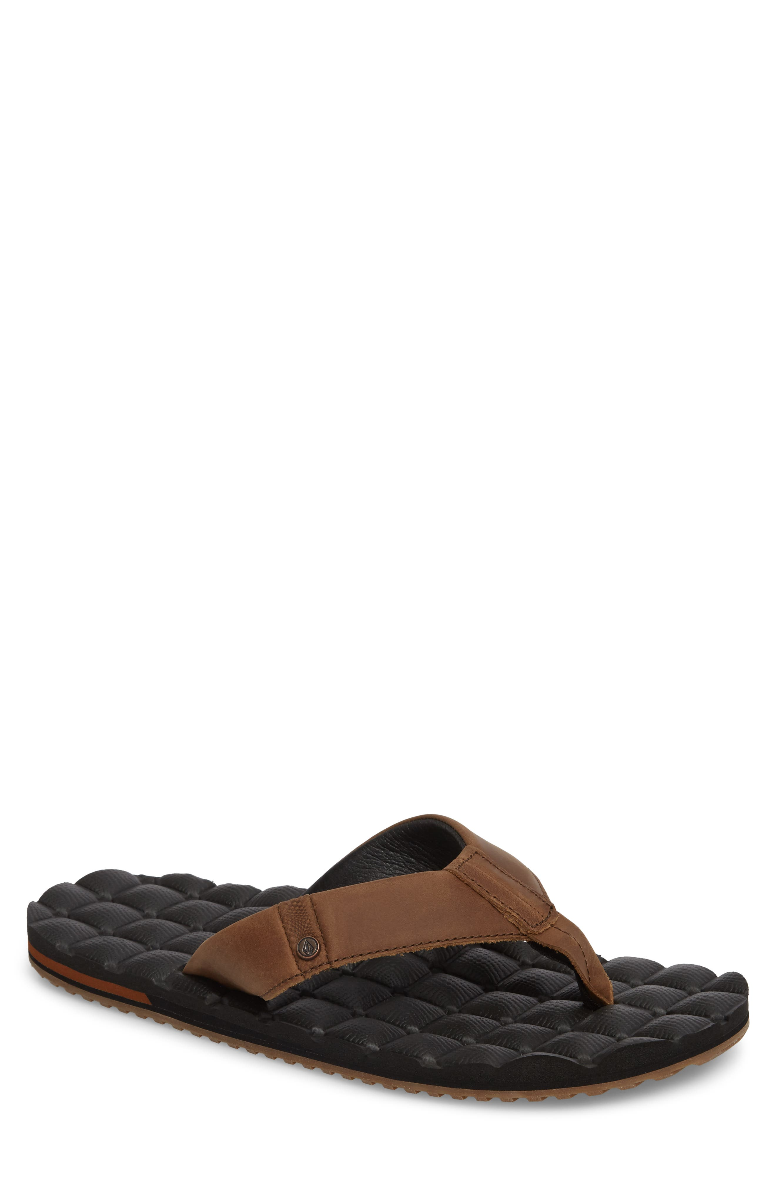 'Recliner' Leather Flip Flop,                             Main thumbnail 1, color,                             Brown Leather