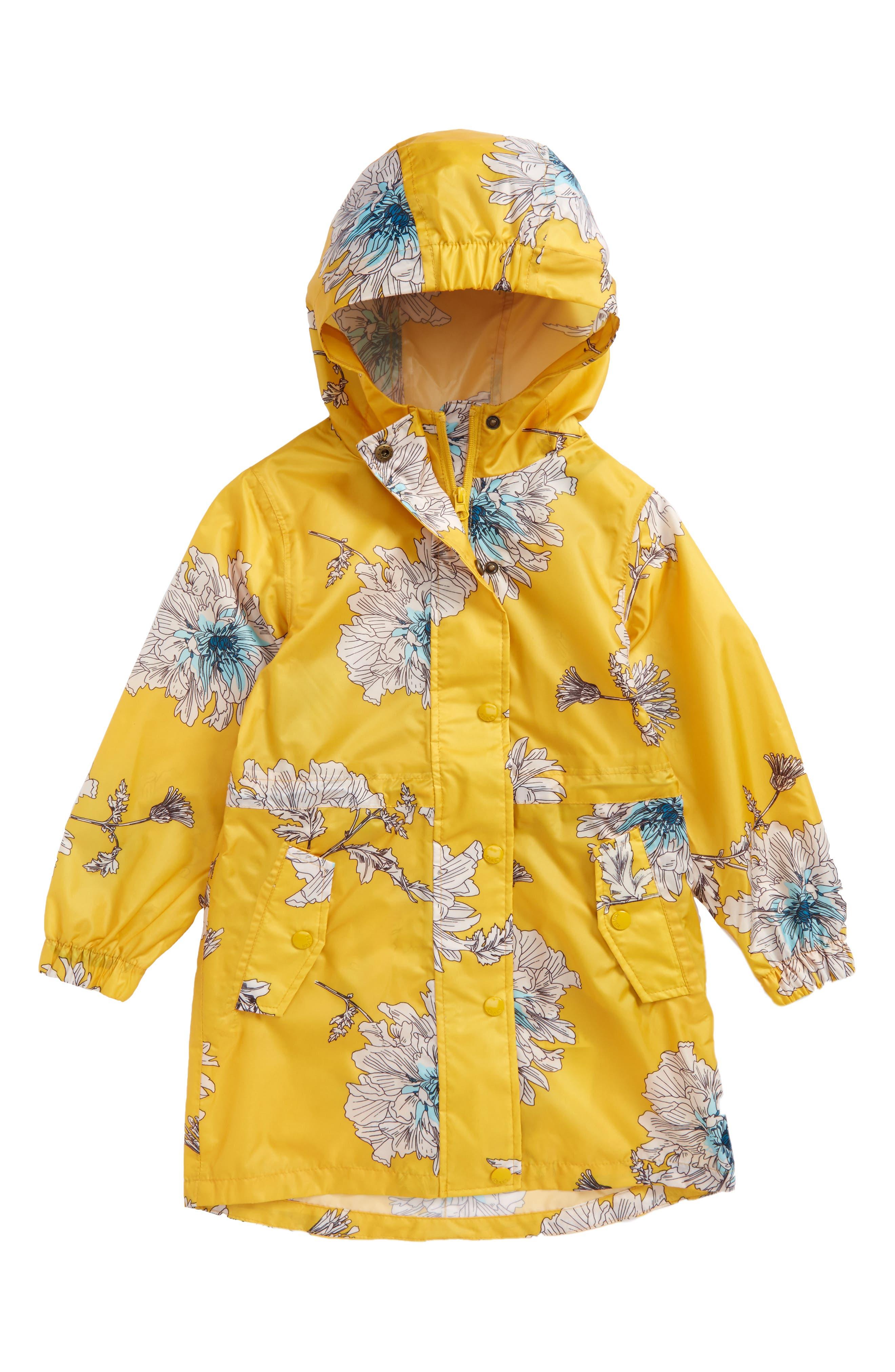 Packaway Flower Print Rain Jacket,                         Main,                         color, Antique Gold Peony