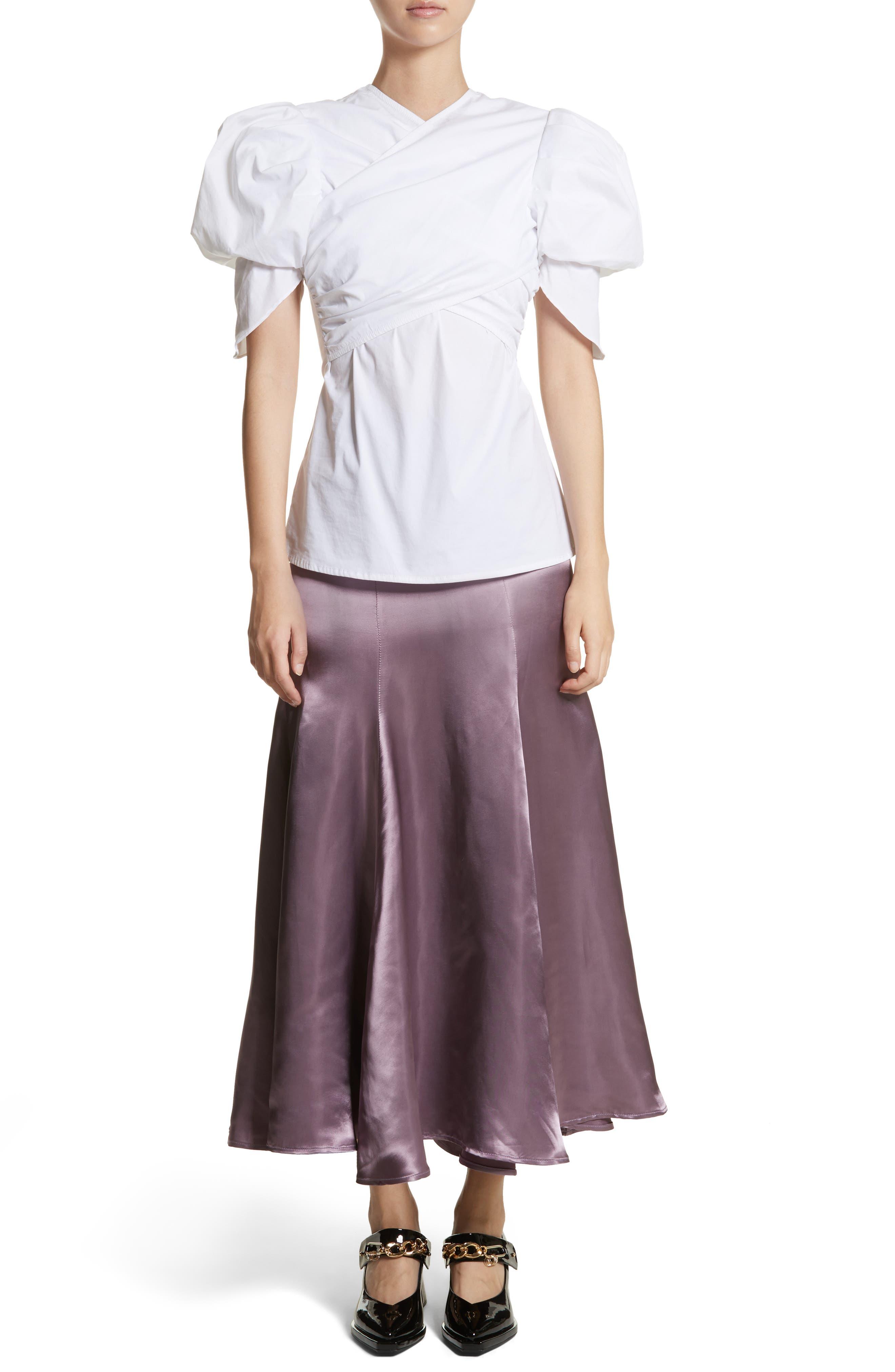 Cassini Satin Slip Skirt,                             Alternate thumbnail 7, color,                             Violet
