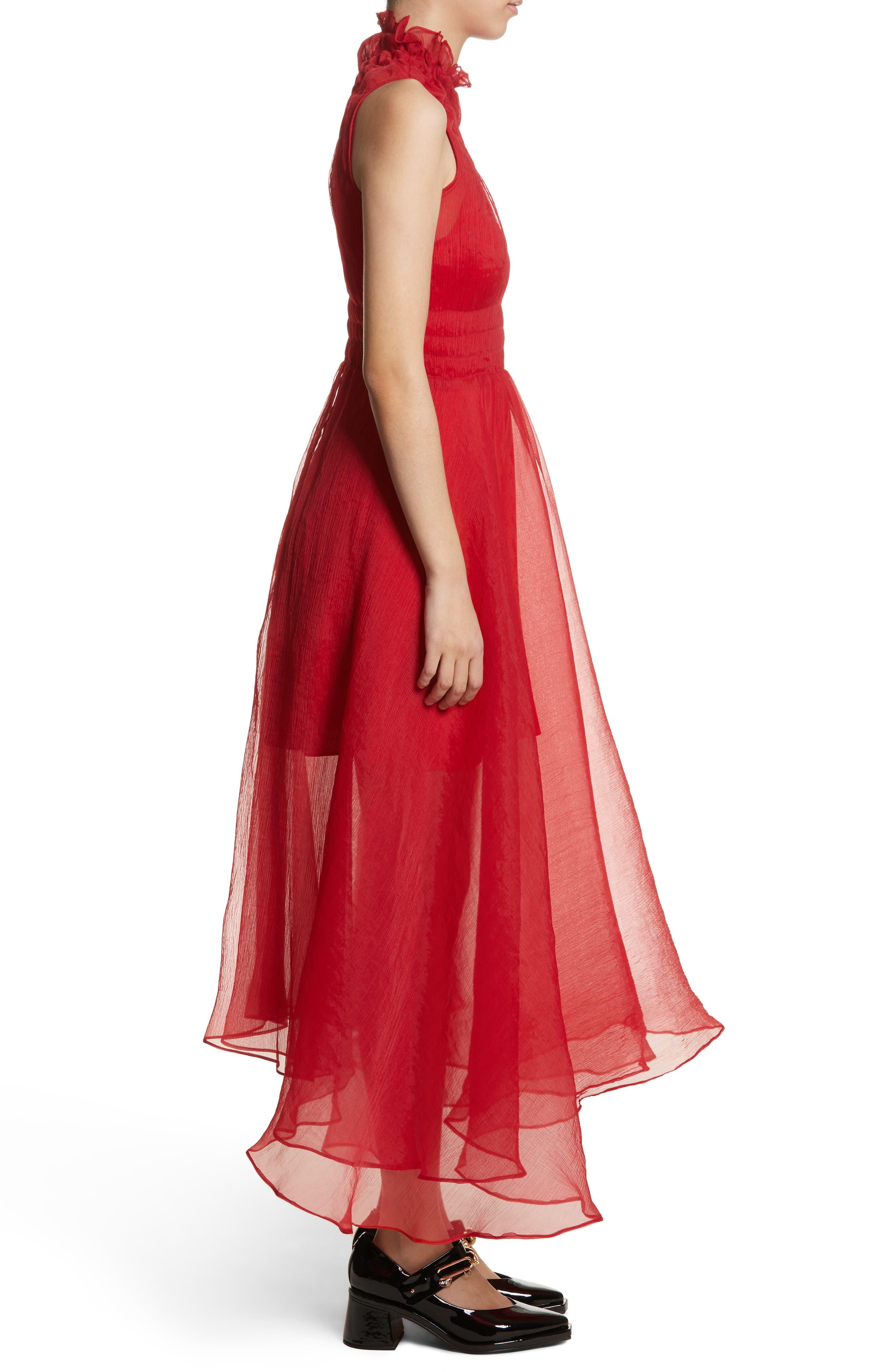Venus Chiffon Dress,                             Alternate thumbnail 3, color,                             Red