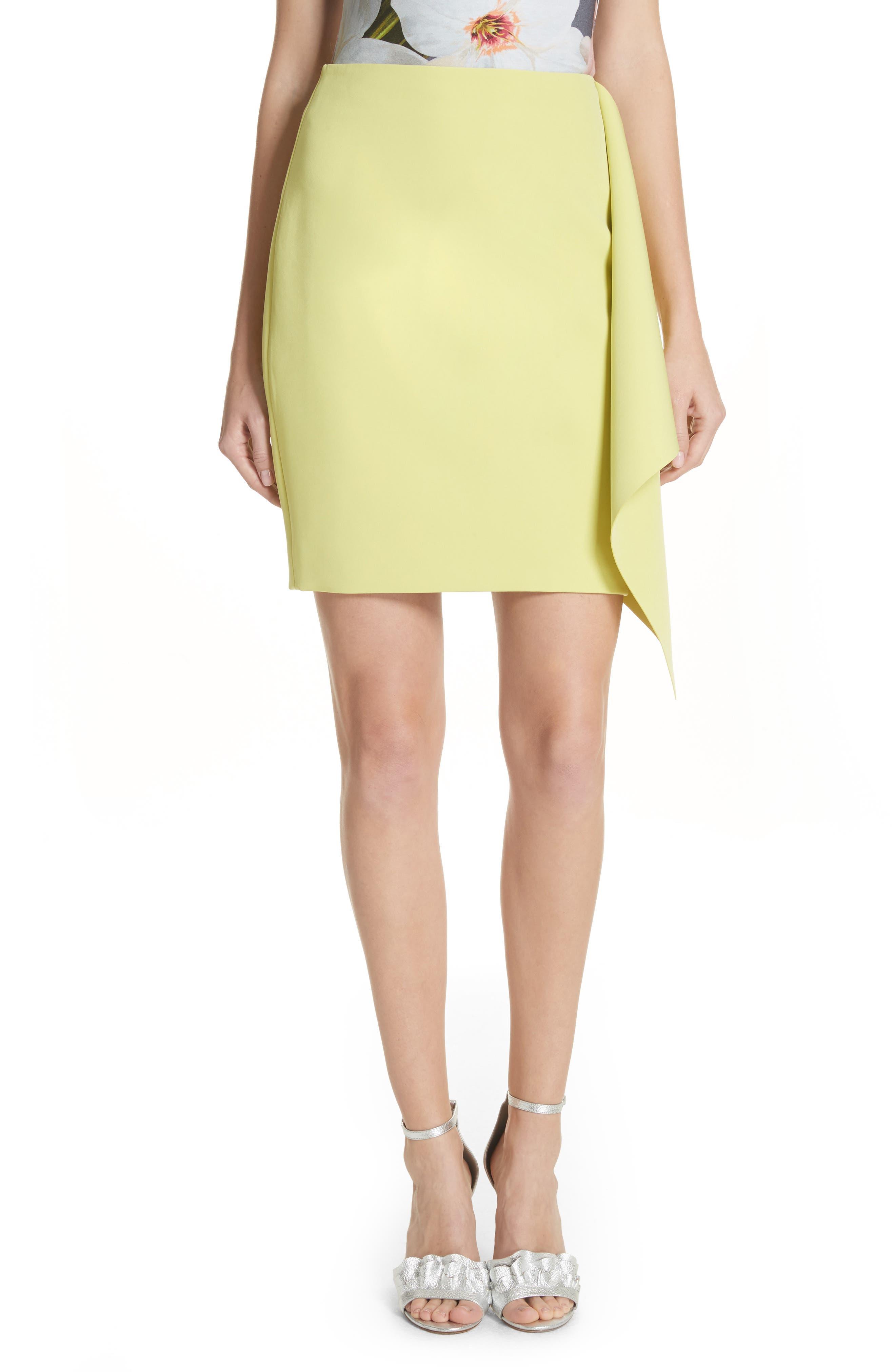 Asymmetrical Frill Pencil Skirt,                         Main,                         color, Lime