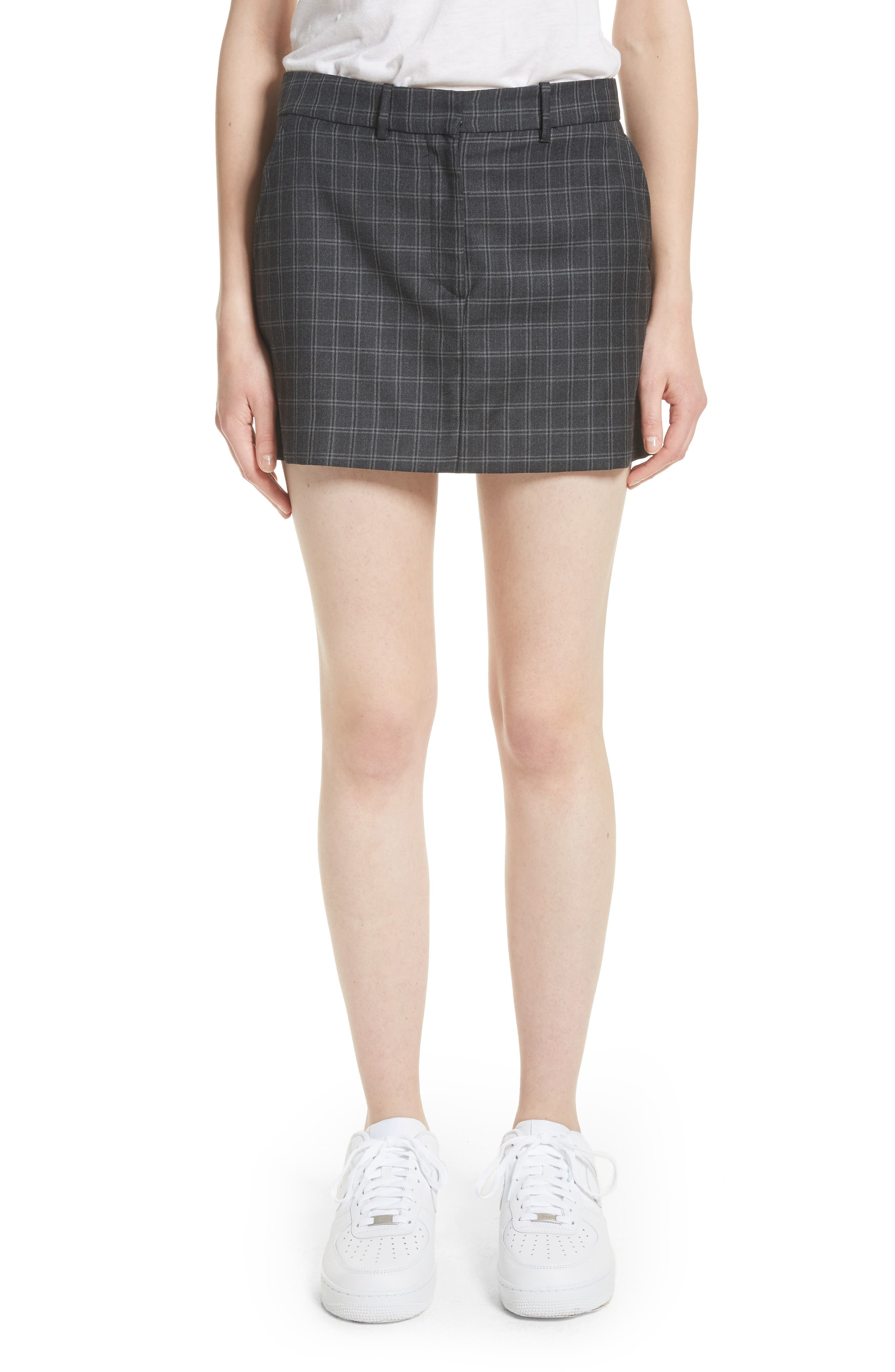 Ashley Williams Executive Plaid Wool Miniskirt