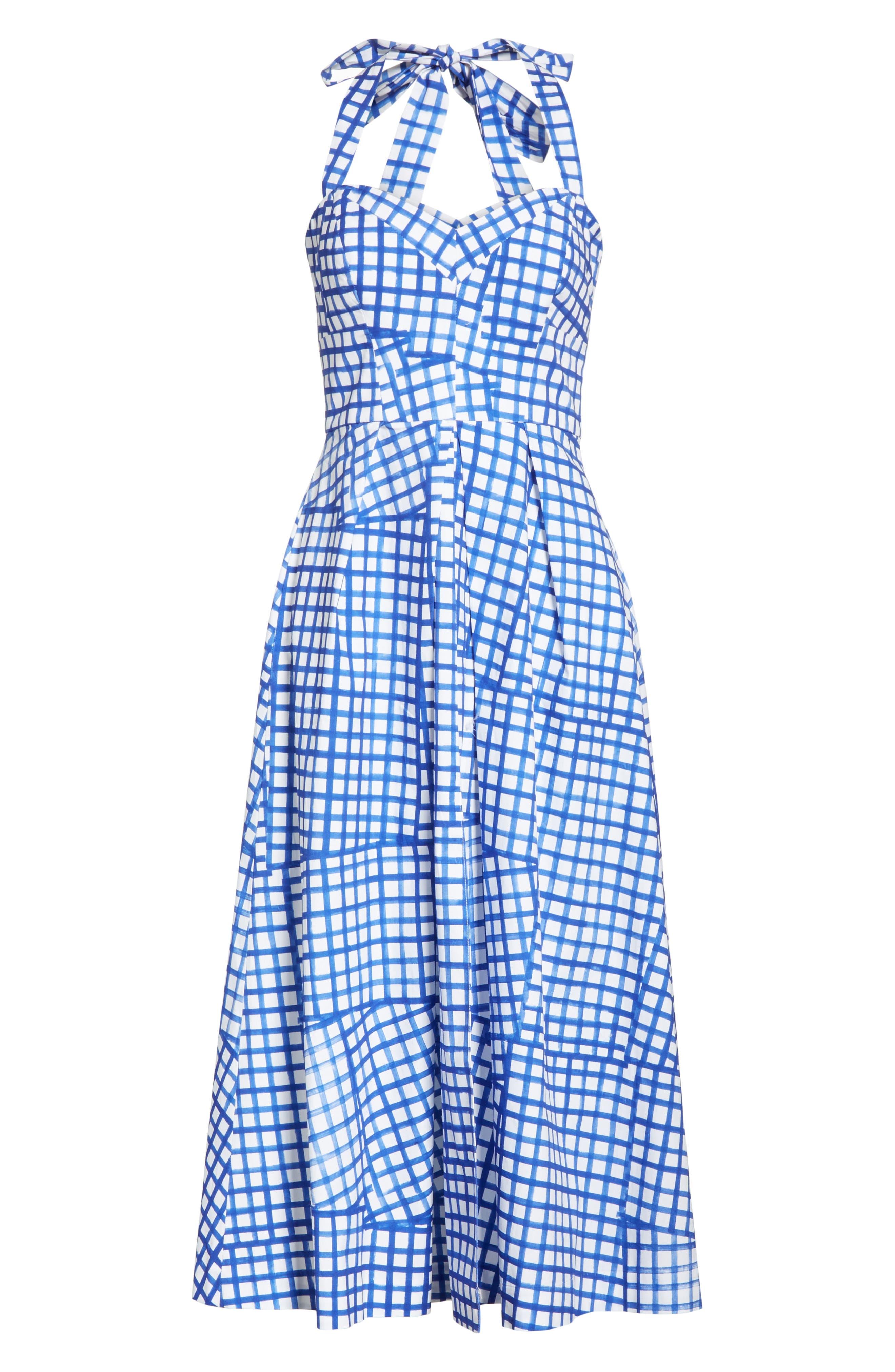 Paige Stretch Cotton Halter Dress,                             Alternate thumbnail 6, color,                             Blueberry