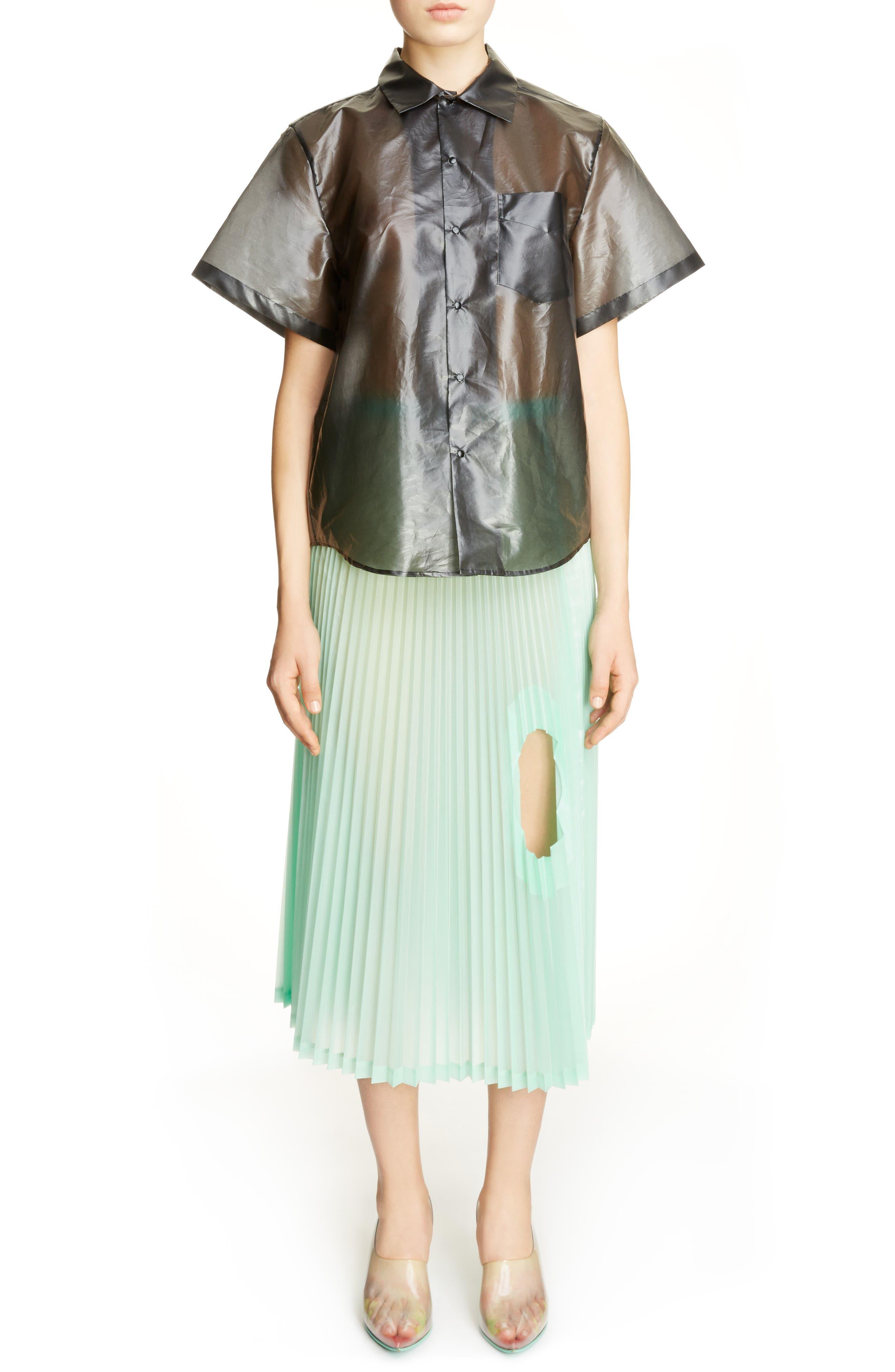 Transparent Blouse,                         Main,                         color, Black