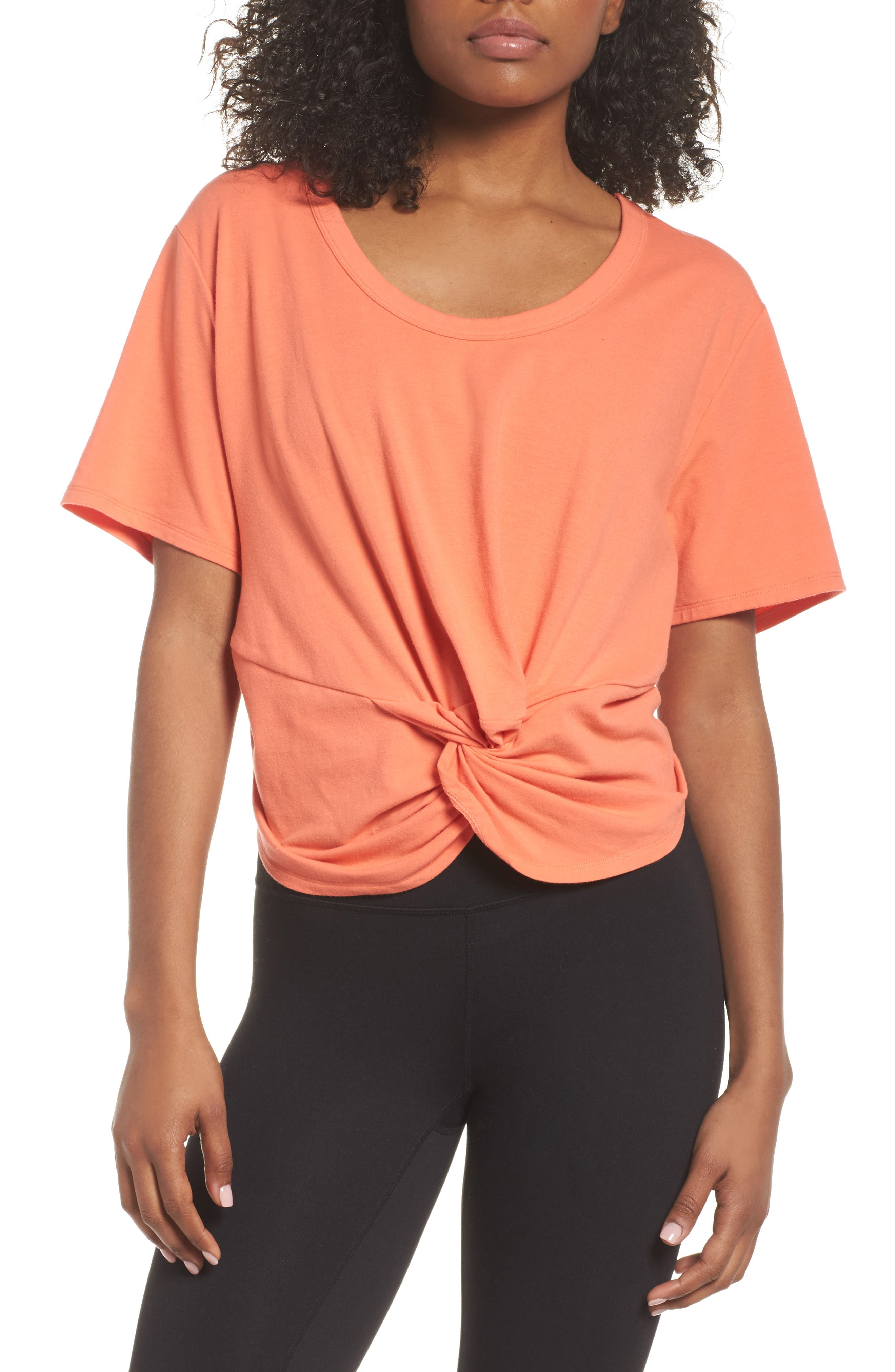 Knotty Crop Tee,                         Main,                         color, Coral Reef