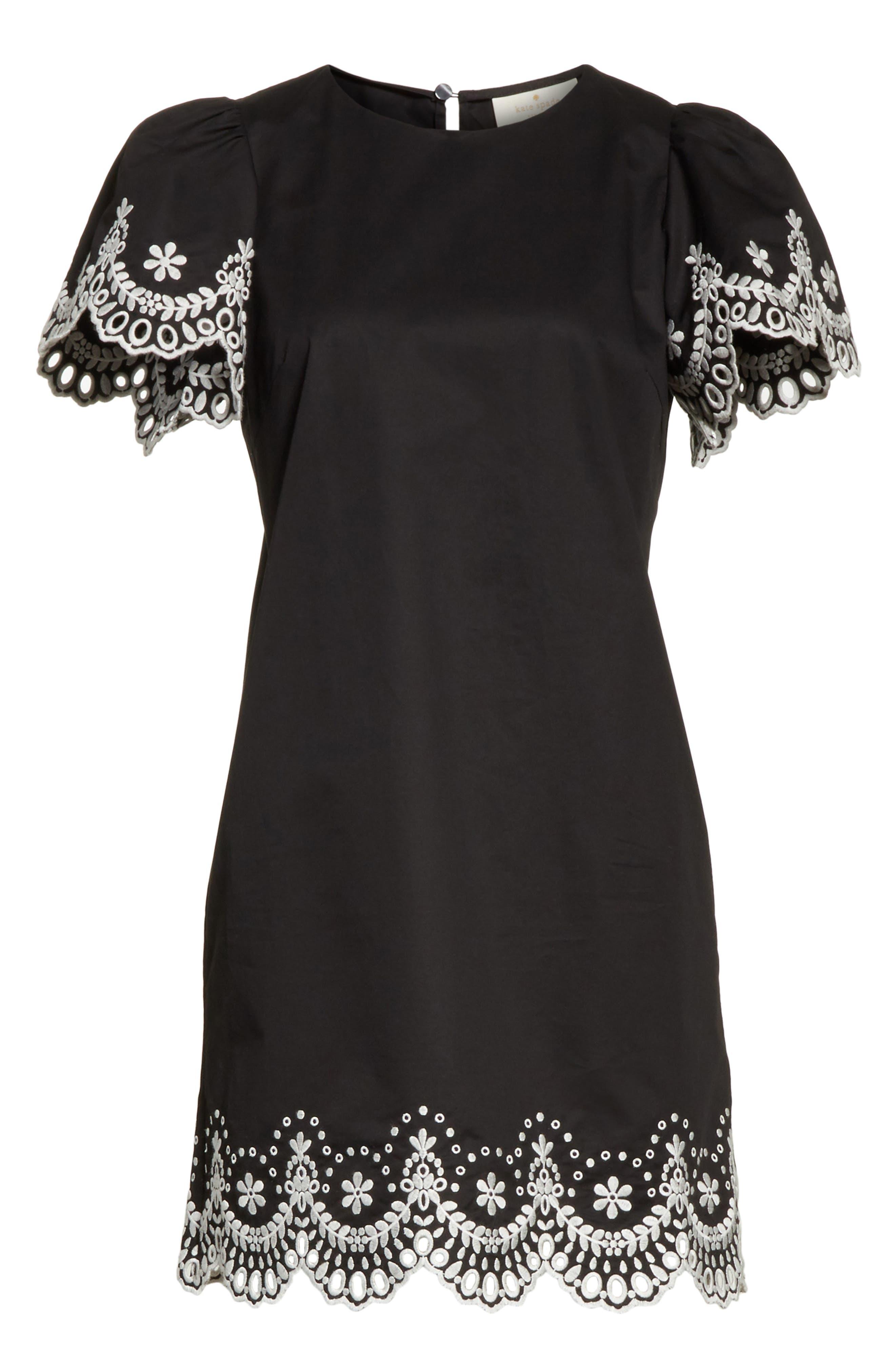 embroidered cutwork minidress,                             Alternate thumbnail 6, color,                             Black