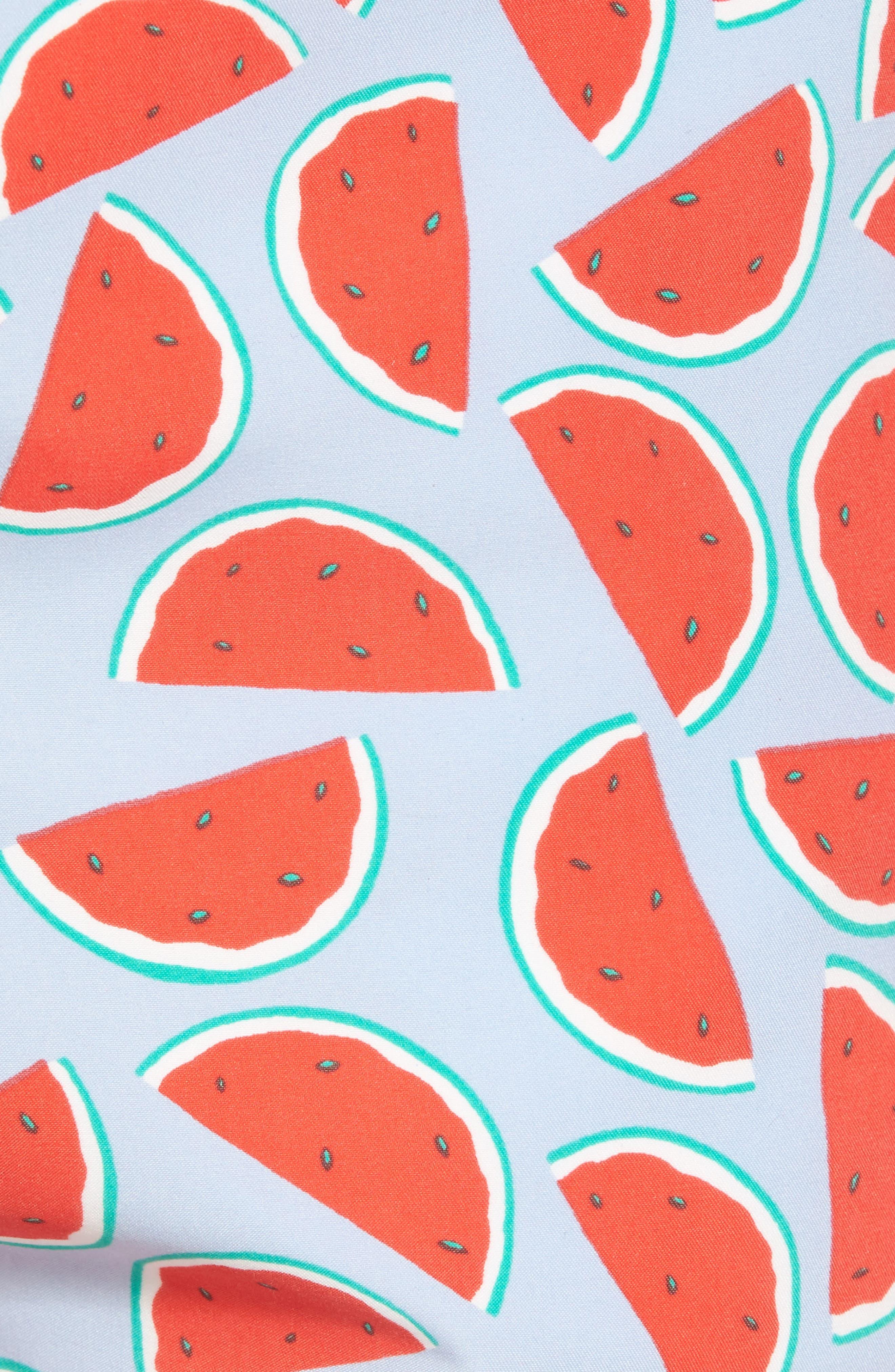 Watermelon Print Swim Trunks,                             Alternate thumbnail 5, color,                             Red