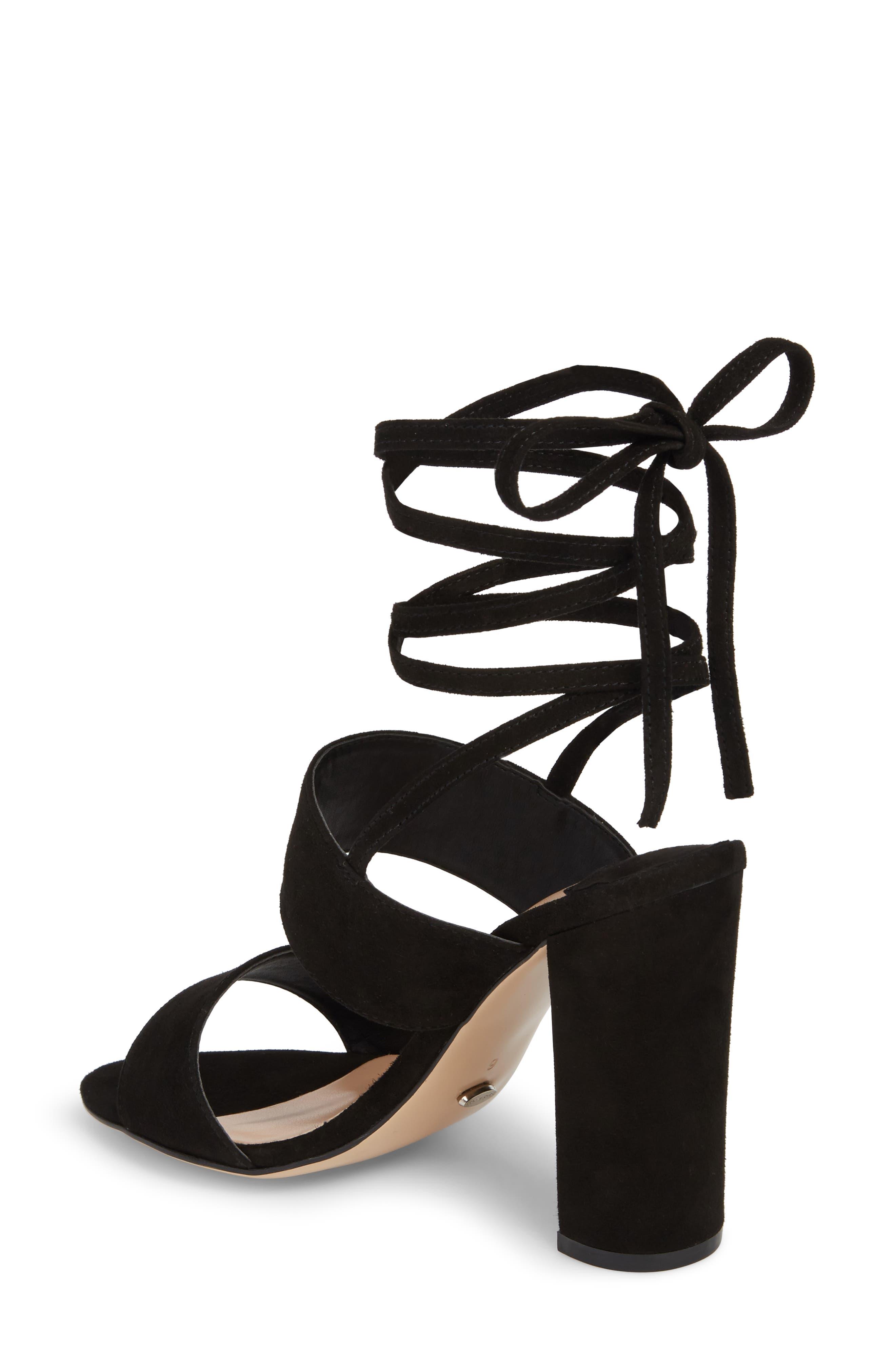 Kiko Ankle Tie Sandal,                             Alternate thumbnail 2, color,                             Black Suede