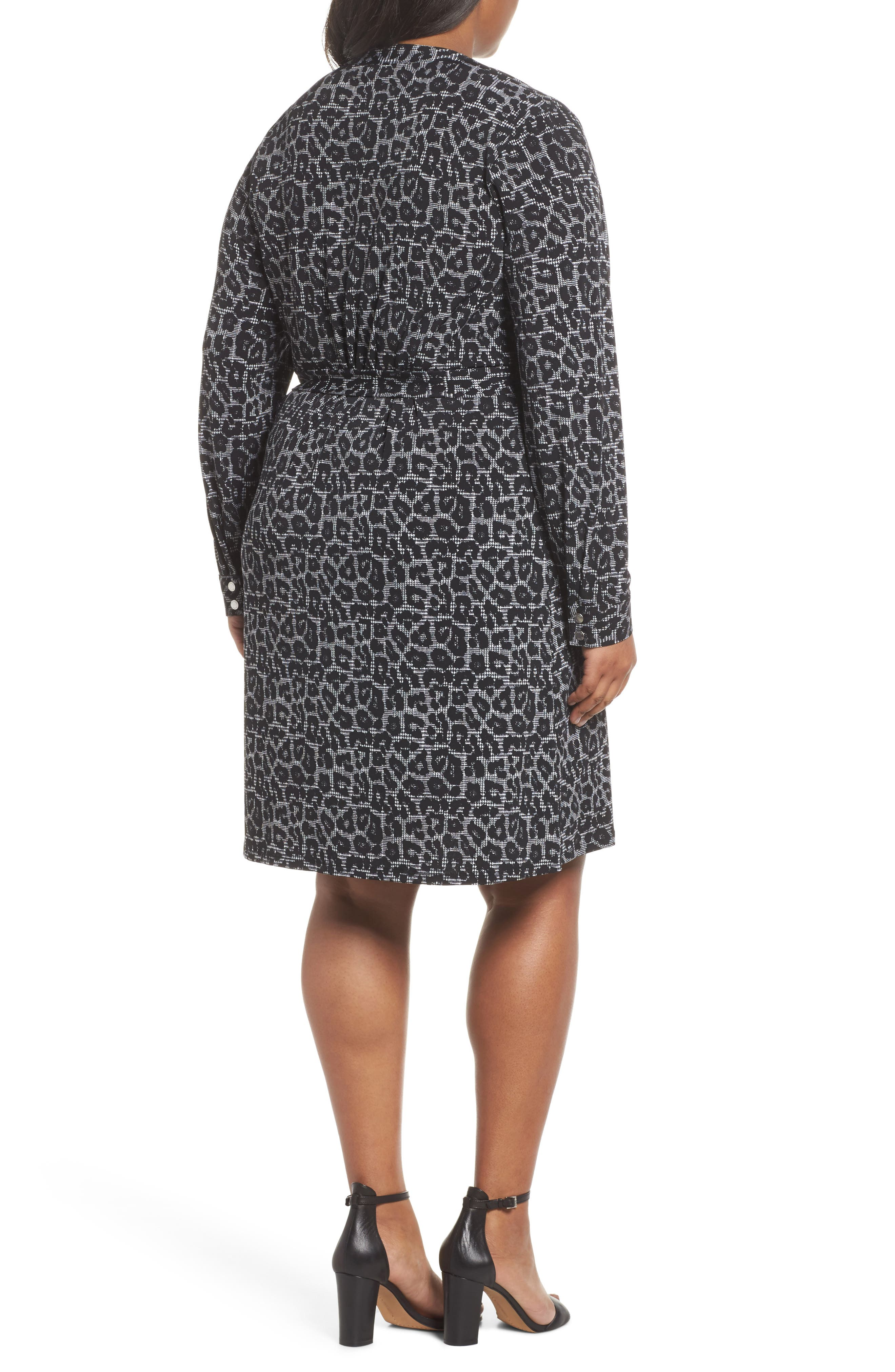 Leopard Plaid Shirtdress,                             Alternate thumbnail 2, color,                             Black