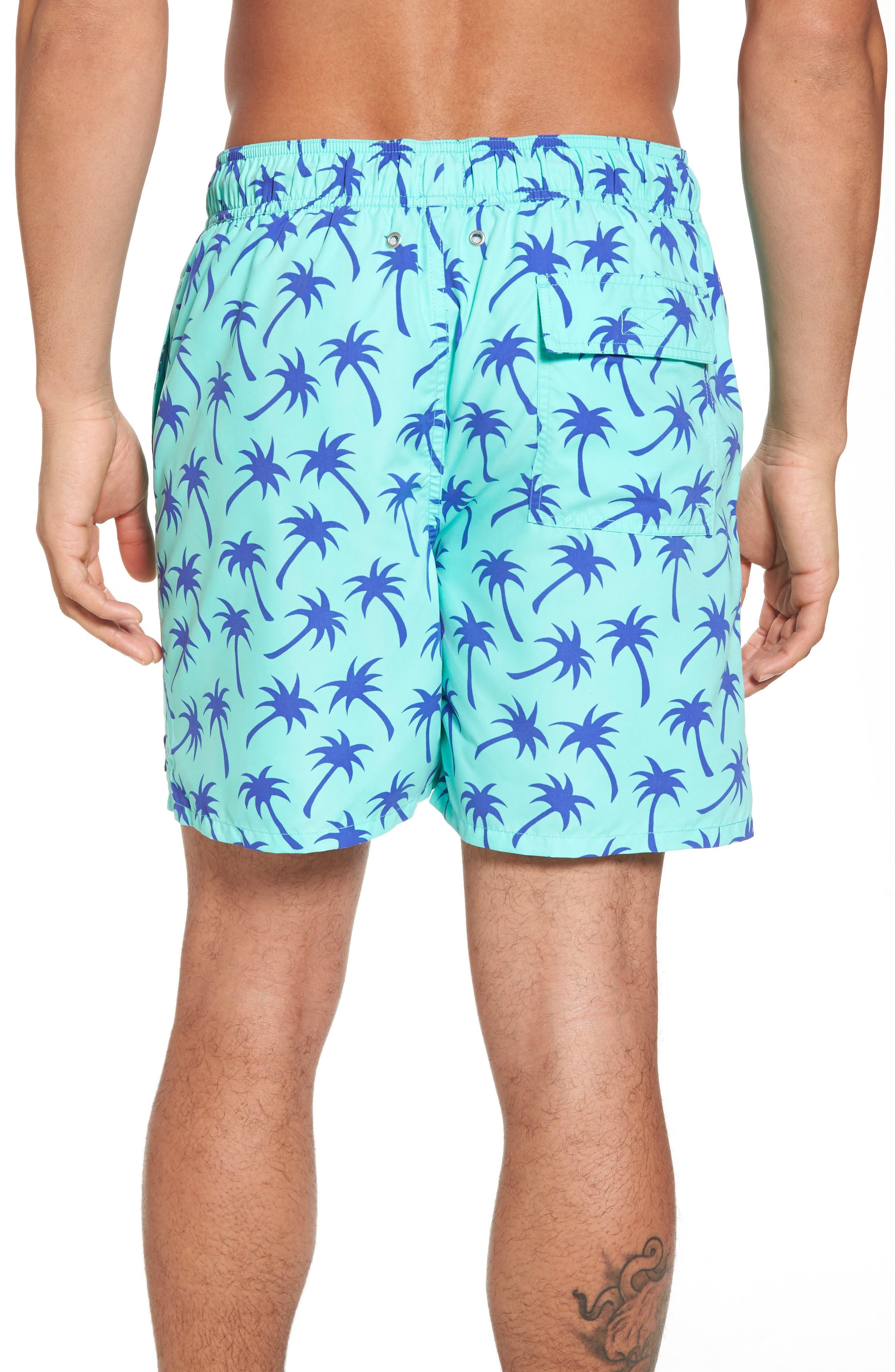 Palm Tree Print Swim Trunks,                             Alternate thumbnail 2, color,                             Emerald/ Blue