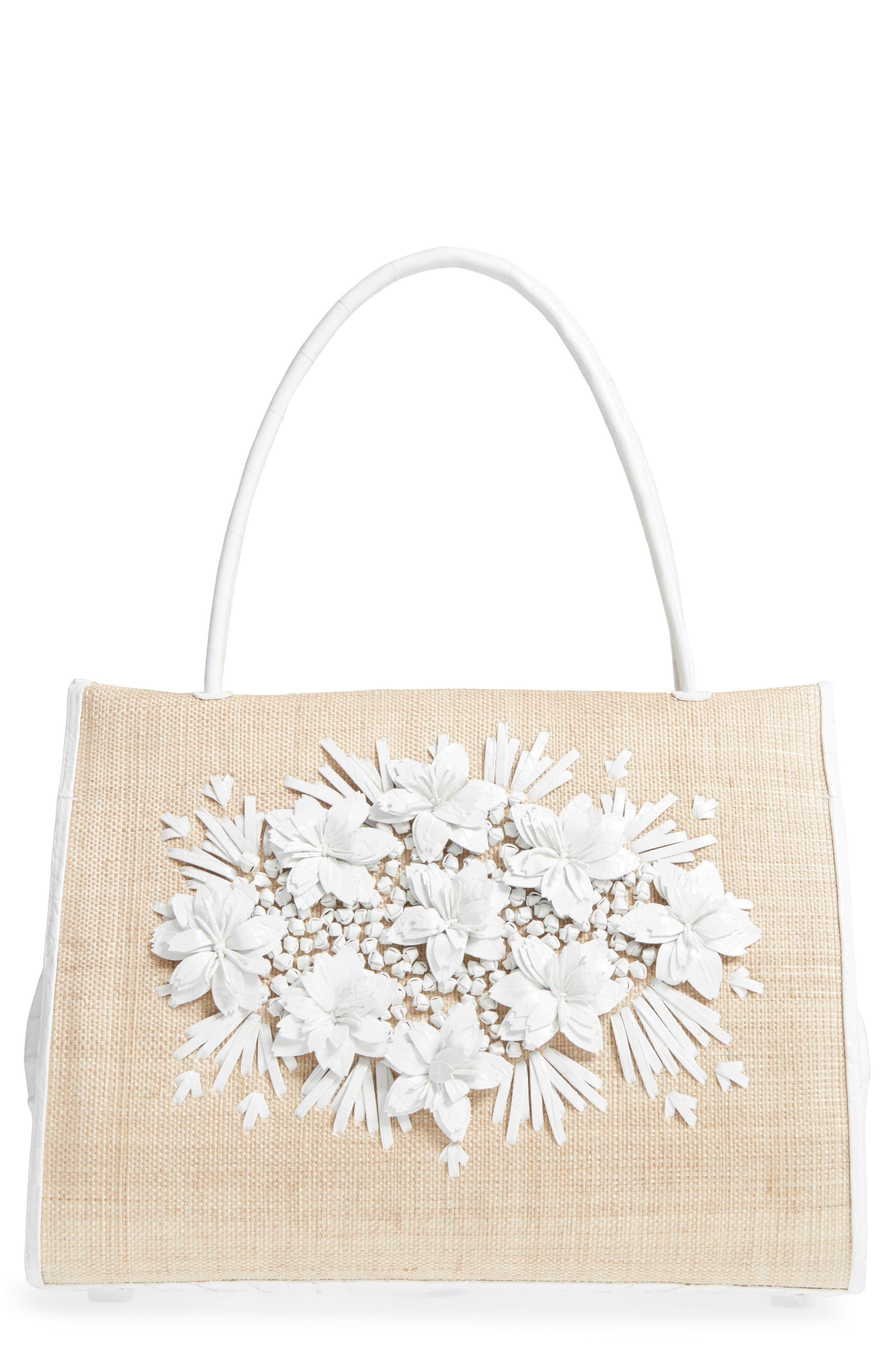 Nancy Gonzalez Straw Top Handle Bag with Genuine Crocodile Flowers