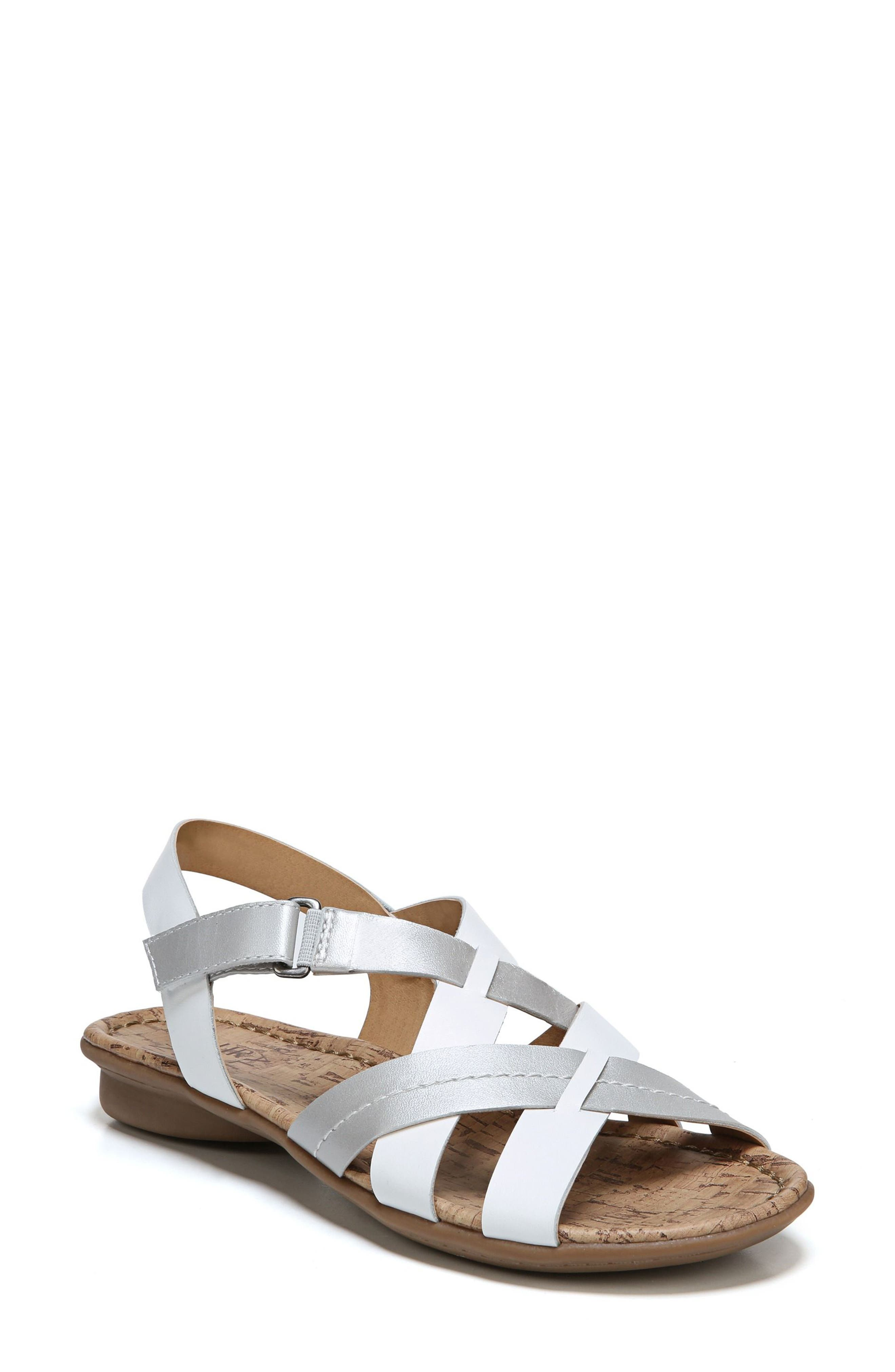 Wyla Sandal,                         Main,                         color, White/ Silver Leather