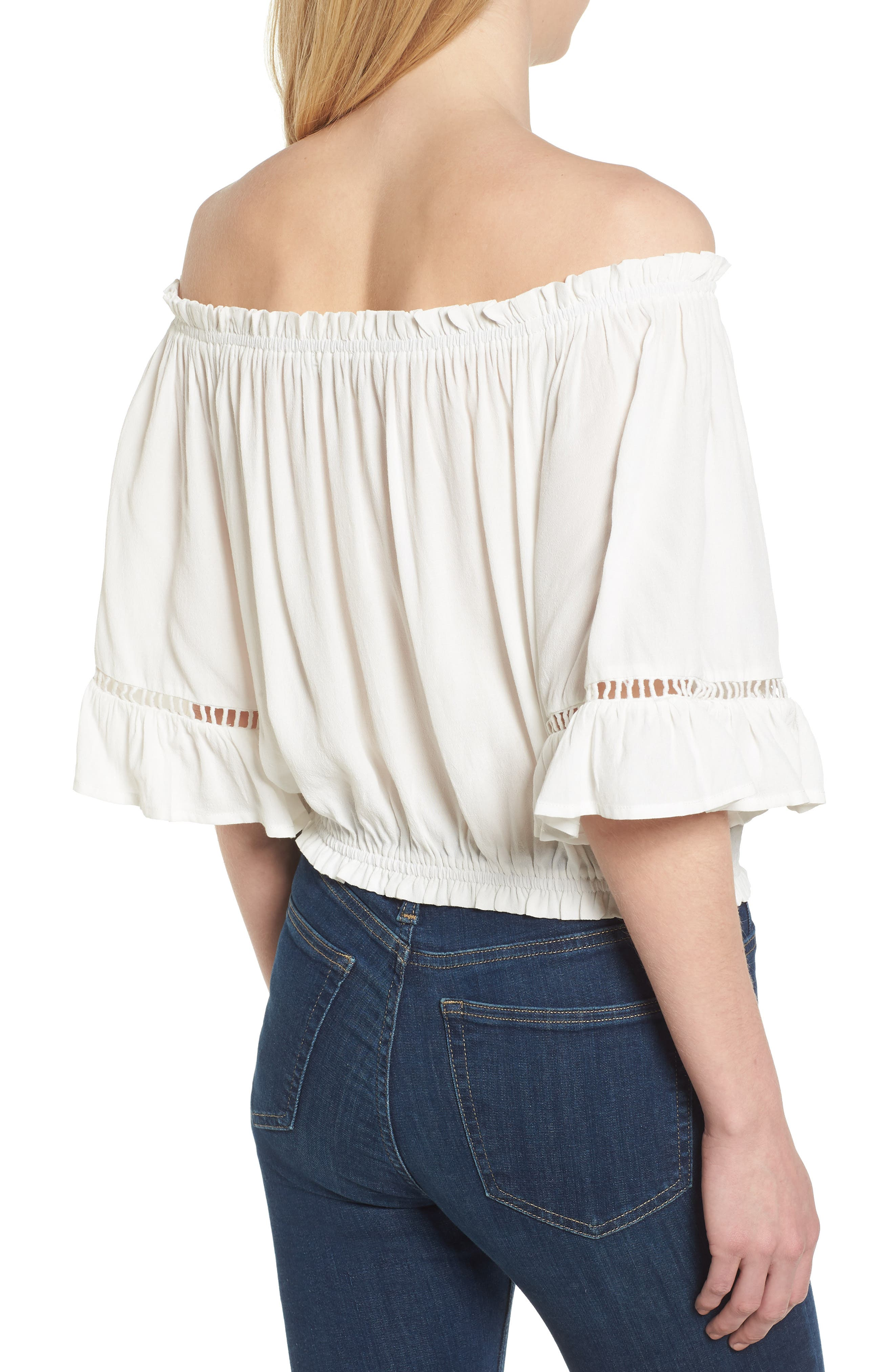 Bishop + Young Off the Shoulder Poet Top,                             Alternate thumbnail 2, color,                             White