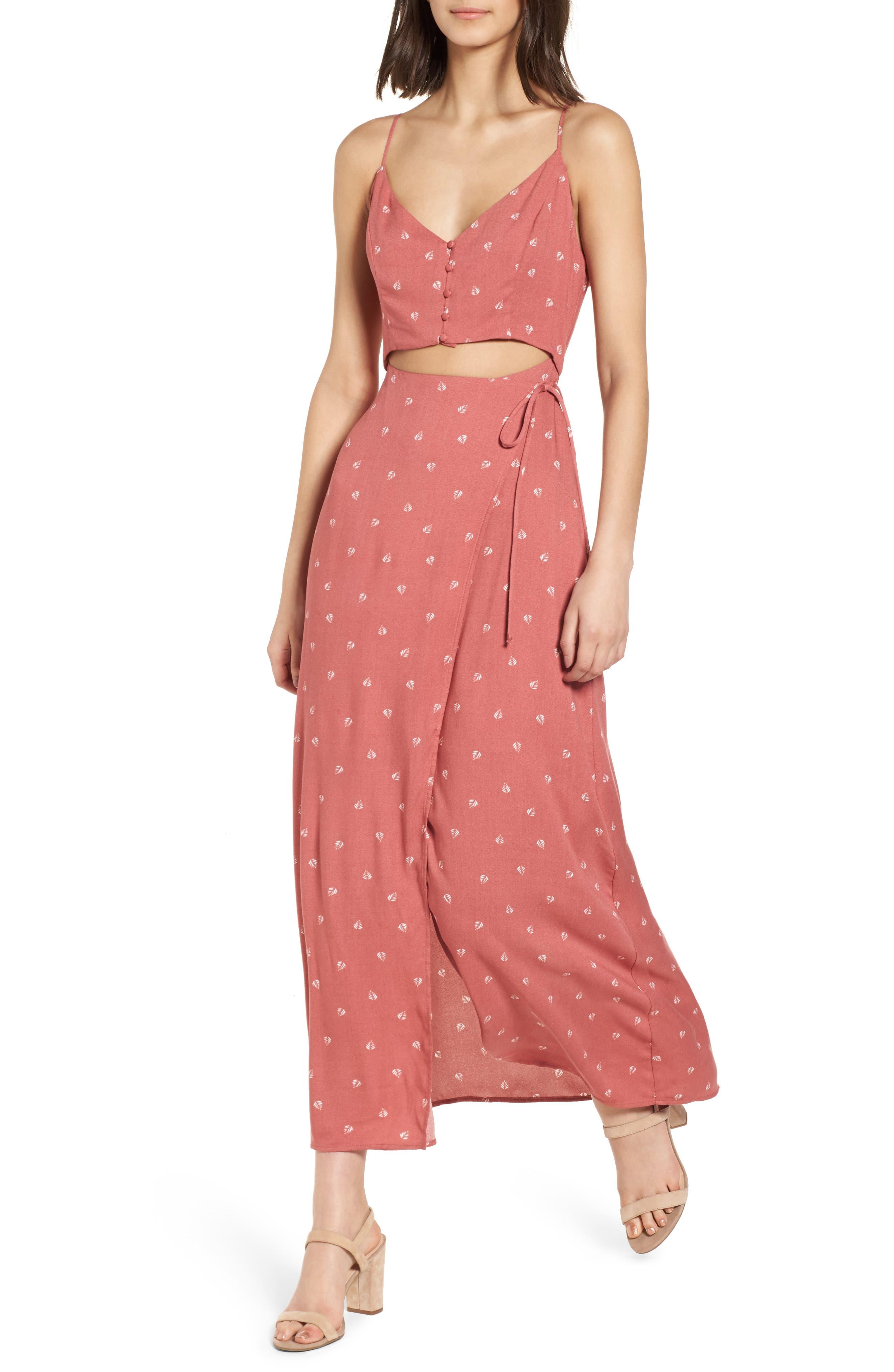 Cutout Wrap Front Maxi Dress,                         Main,                         color, Mauve Leaf