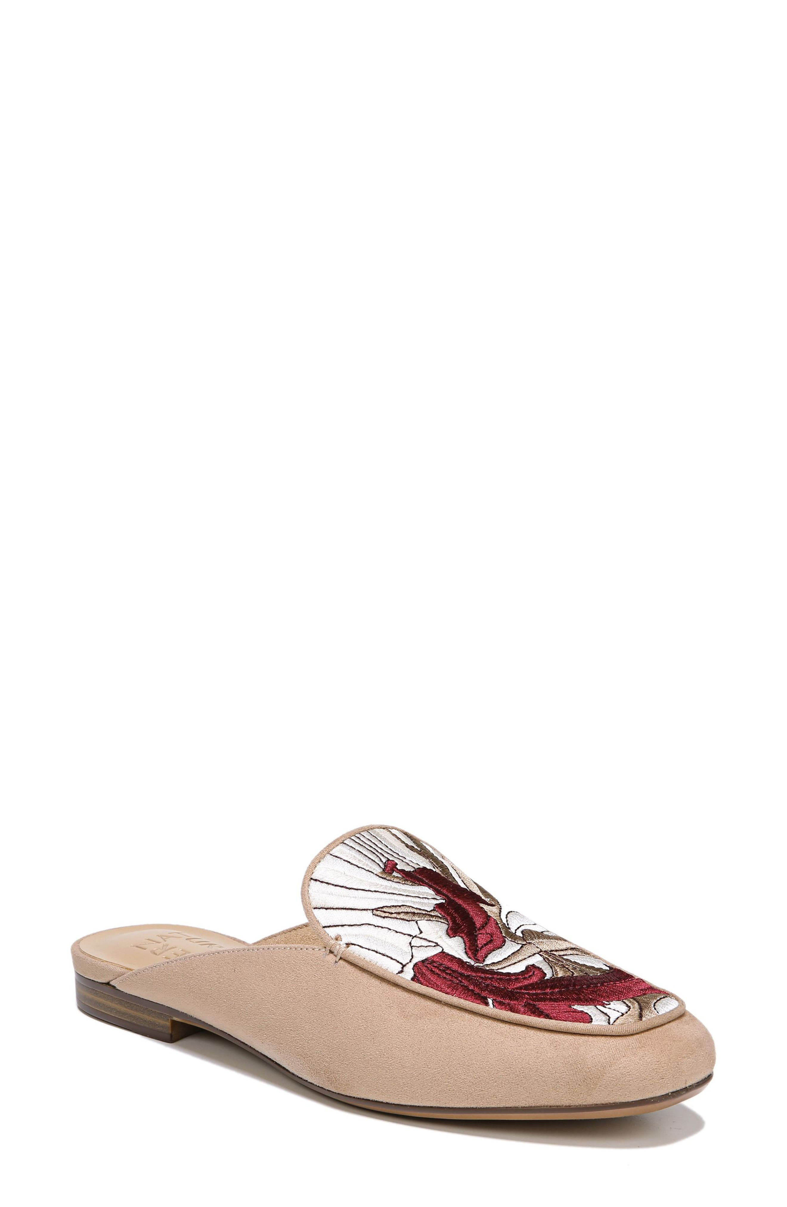 Eden II Embroidered Mule,                             Main thumbnail 1, color,                             Barley Fabric