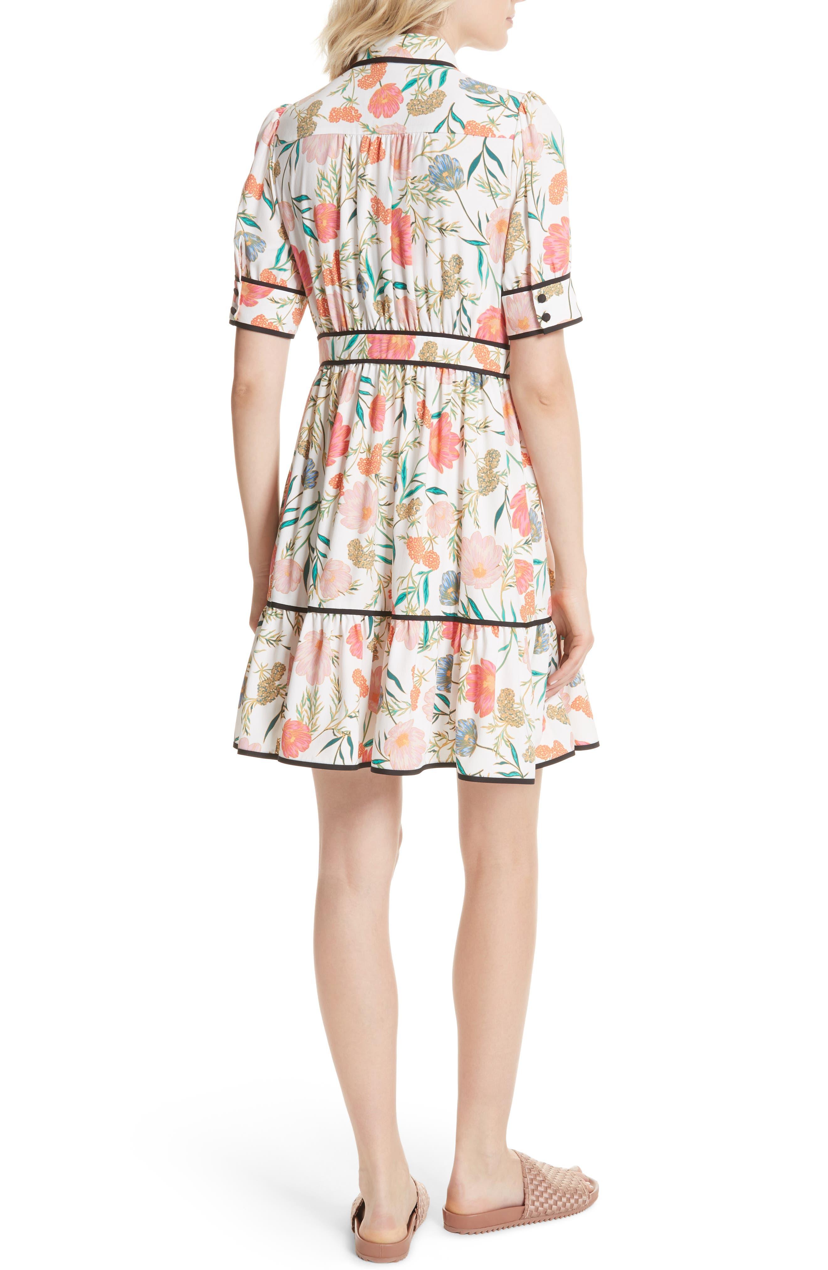 blossom print fluid shirtdress,                             Alternate thumbnail 2, color,                             Cream