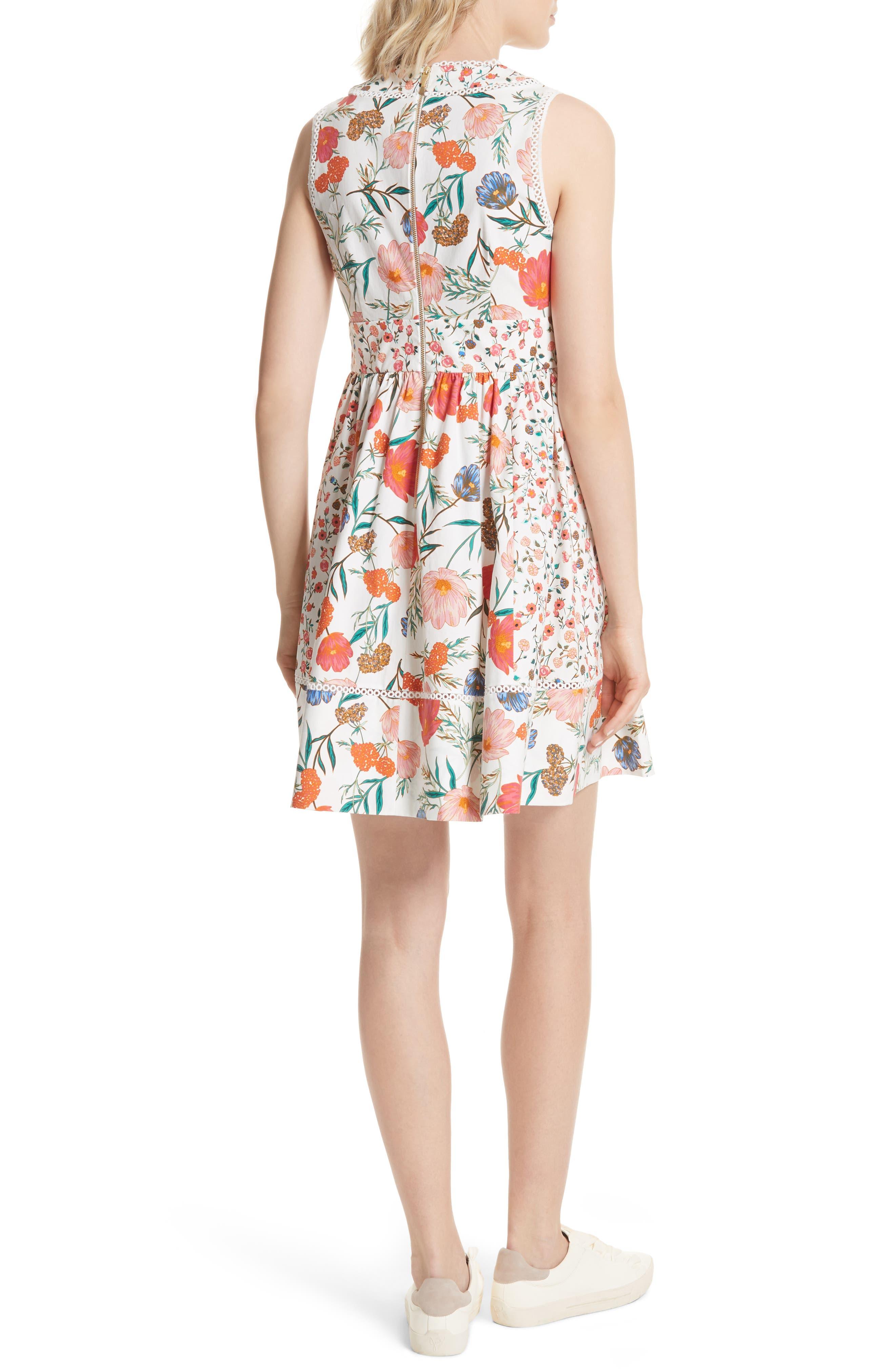 blossom sleeveless fit & flare dress,                             Alternate thumbnail 2, color,                             Cream