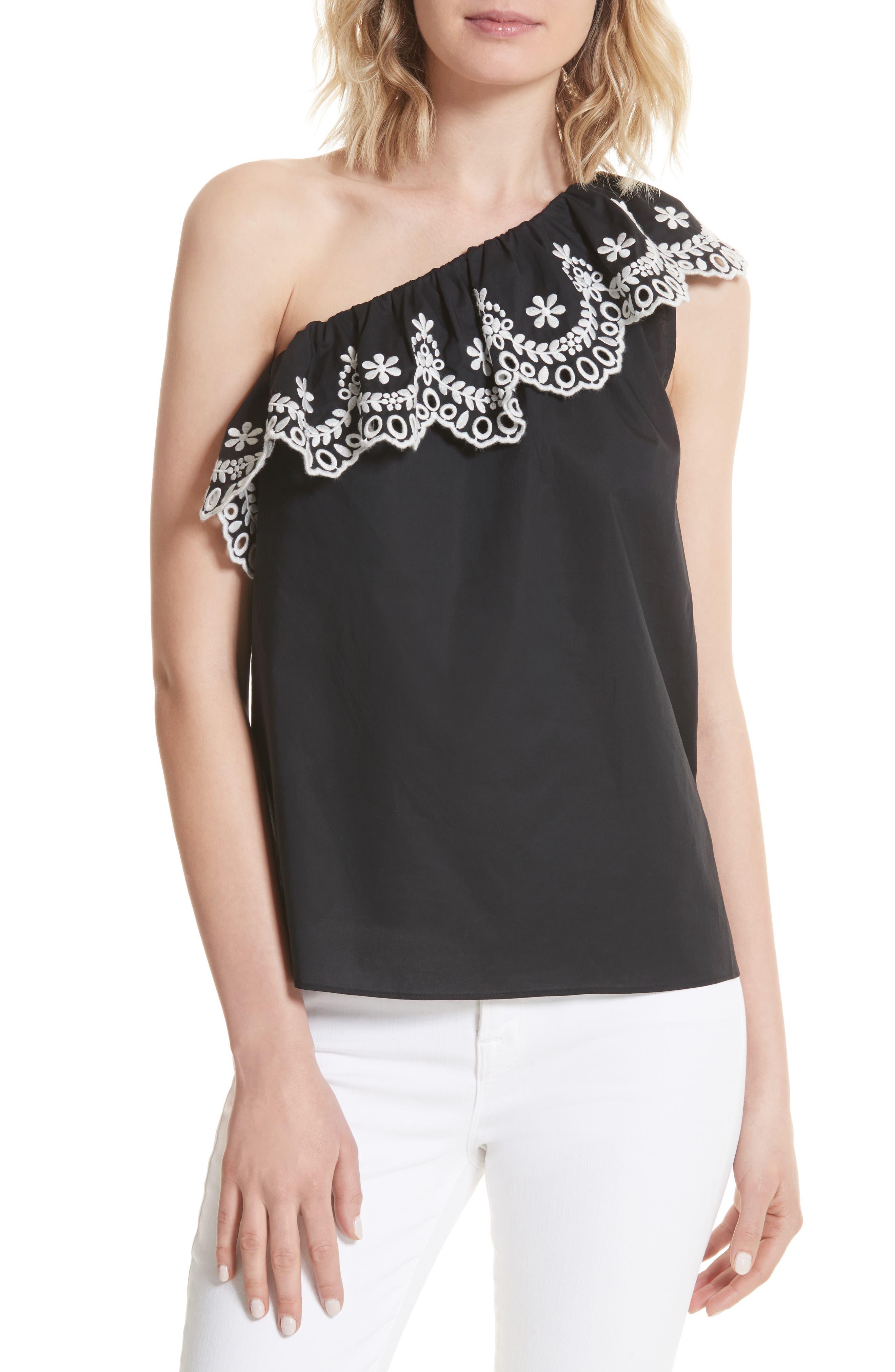 one-shoulder cutwork top,                         Main,                         color, Black