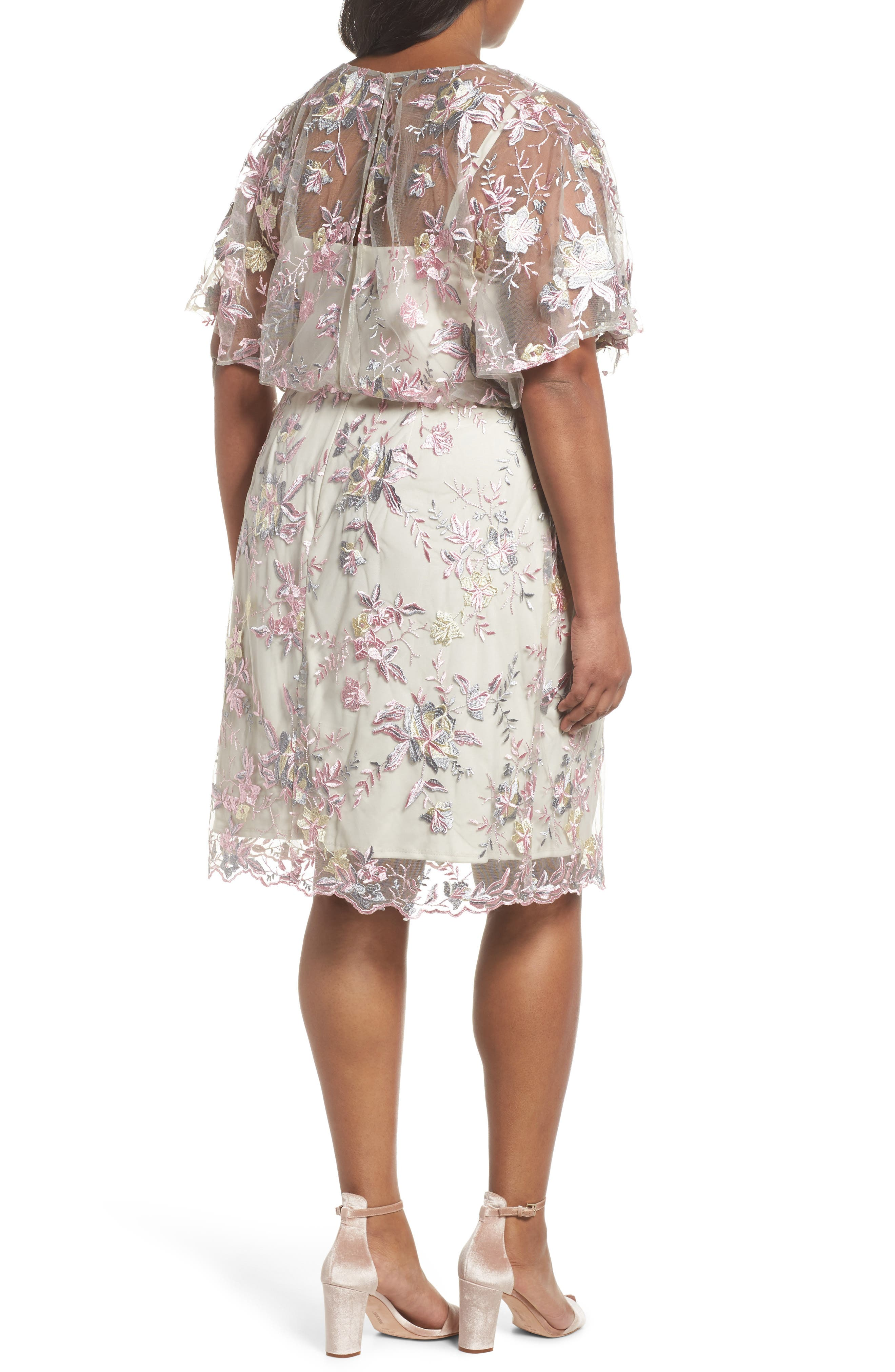 Embroidered Blouson Dress,                             Alternate thumbnail 2, color,                             Pink/ Nude