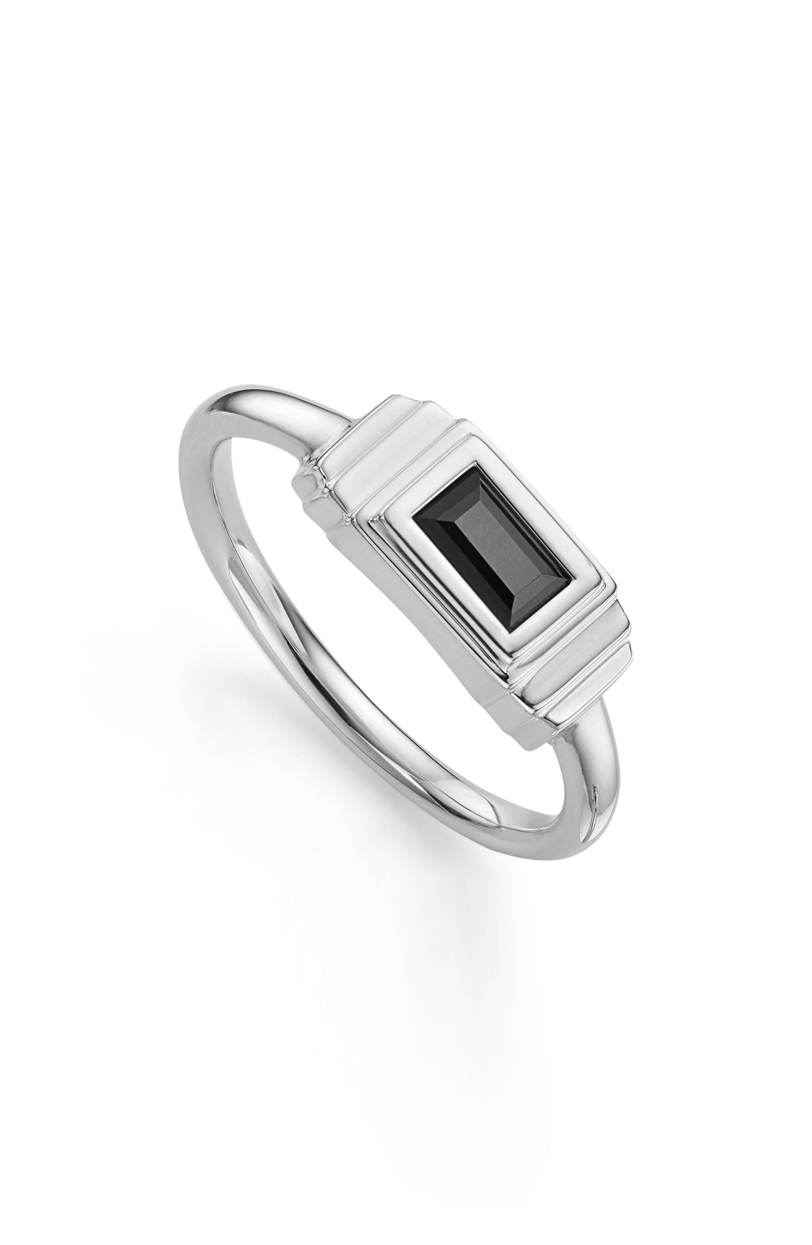 Baja Deco Semiprecious Stone Ring,                             Main thumbnail 1, color,                             Black Onyx/ Silver